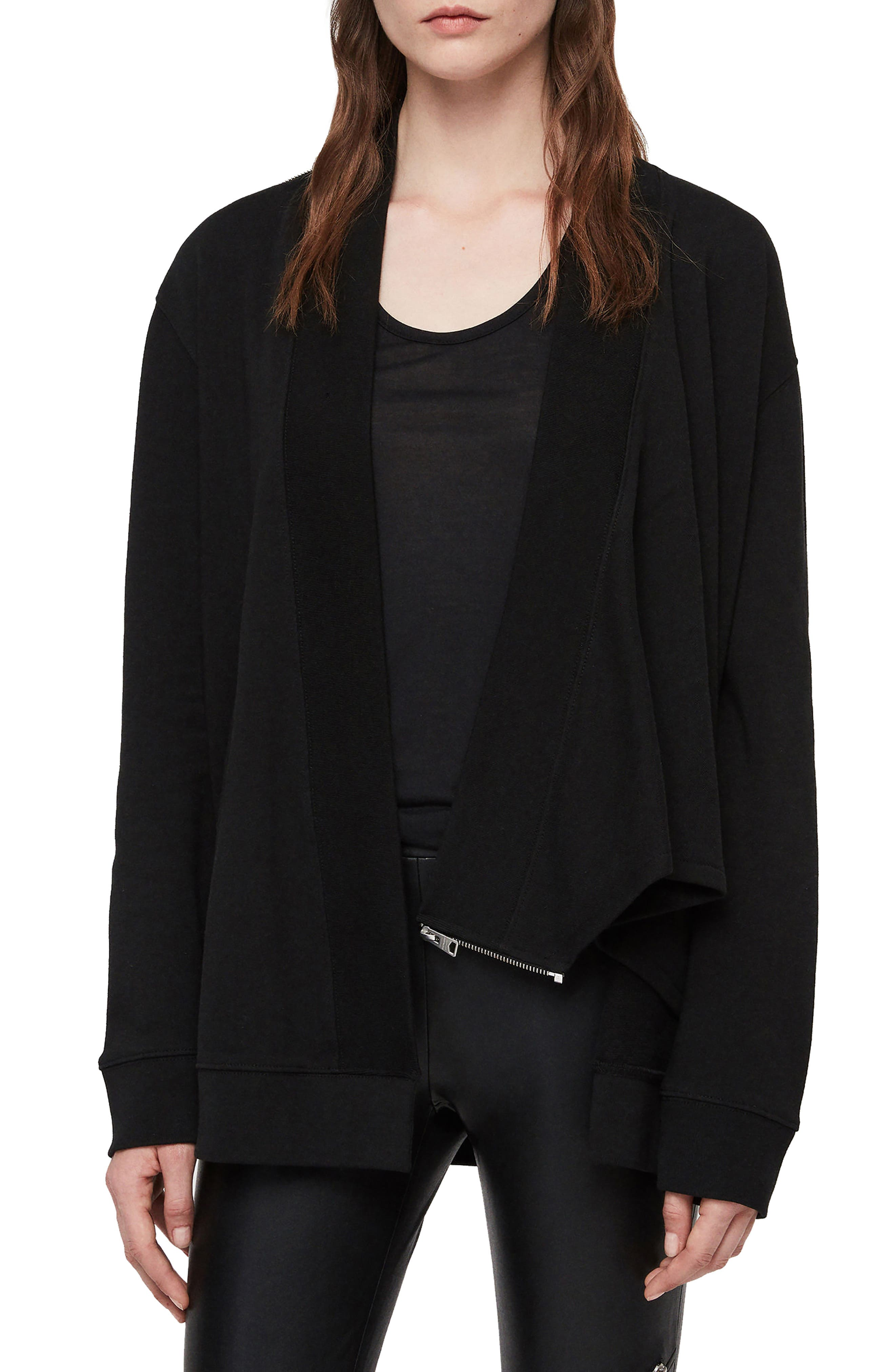 ALLSAINTS Drina Drape Jacket, Main, color, 001