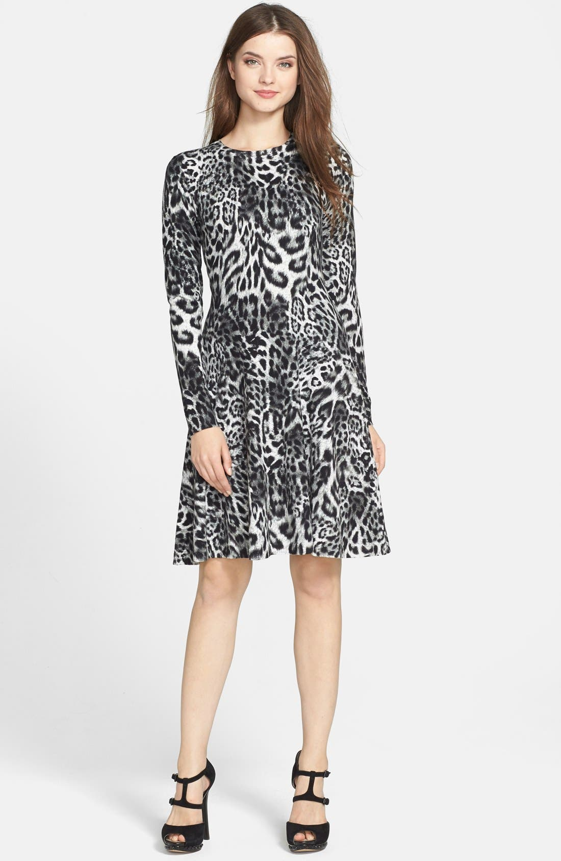 MICHAEL MICHAEL KORS, 'Fremont' Leopard Print Fit & Flare Dress, Main thumbnail 1, color, 001