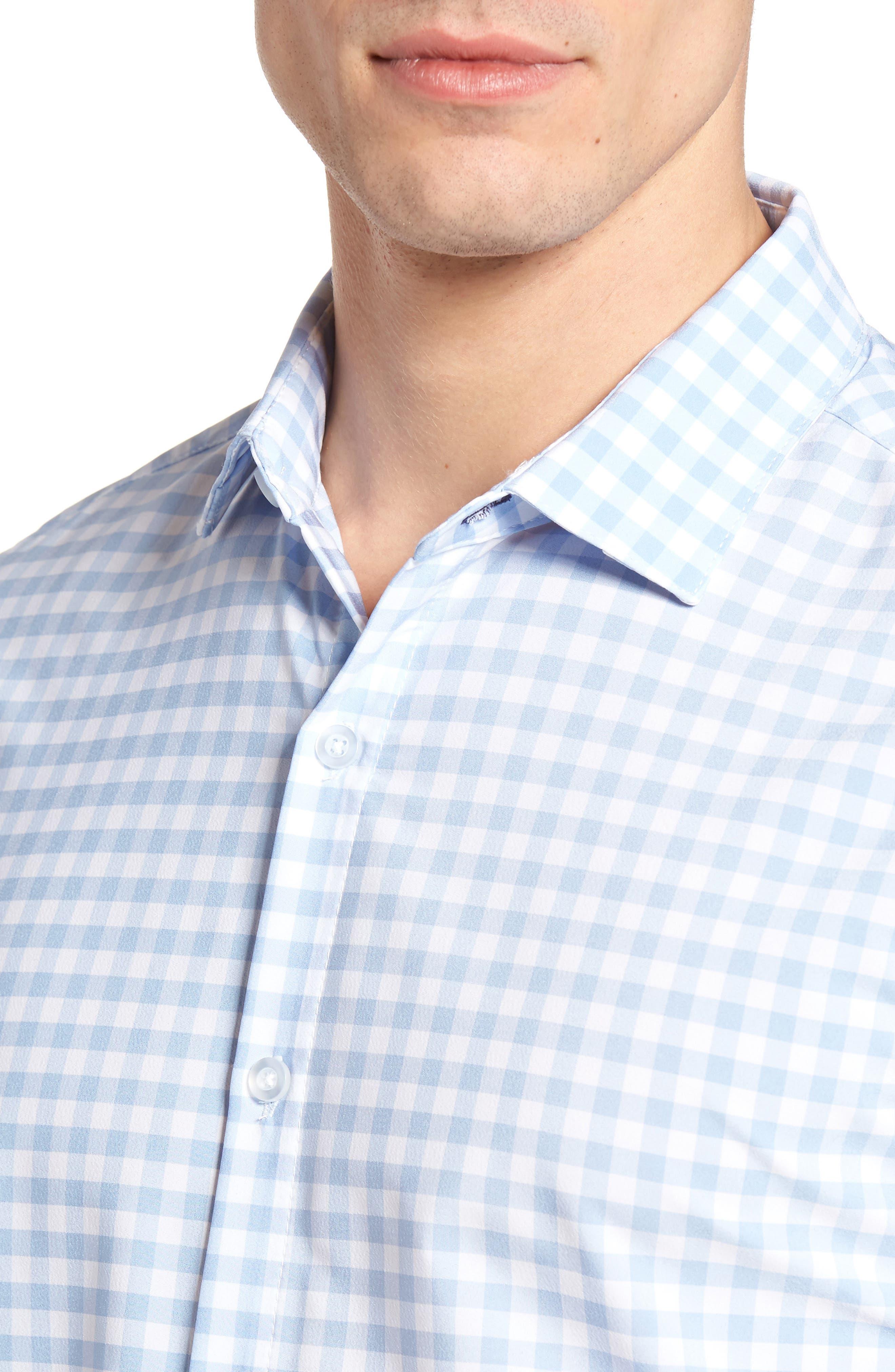 MIZZEN+MAIN, Hampton Trim Fit Gingham Performance Sport Shirt, Alternate thumbnail 4, color, BLUE