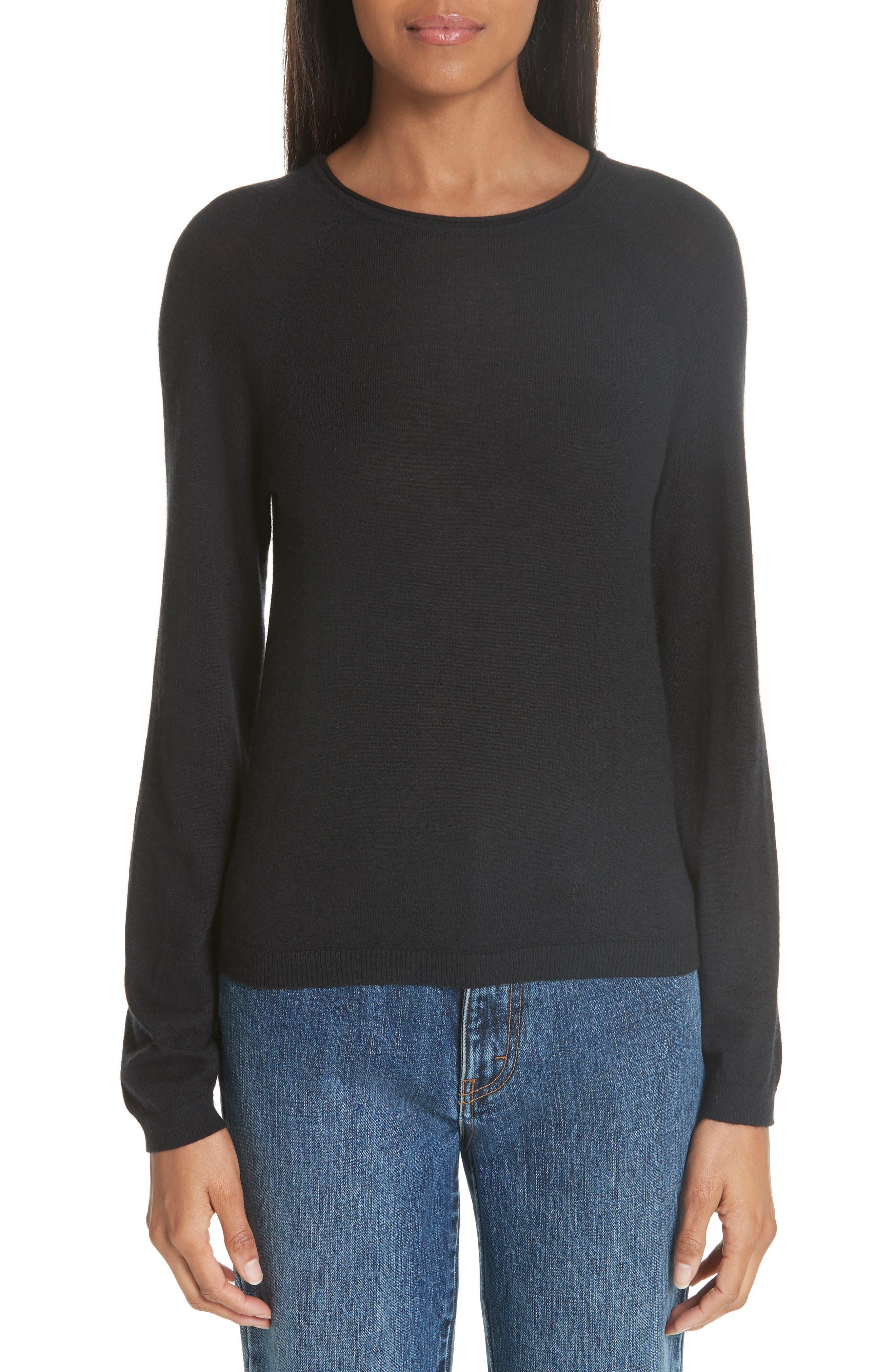 CO, Essentials Cashmere Sweater, Main thumbnail 1, color, BLACK