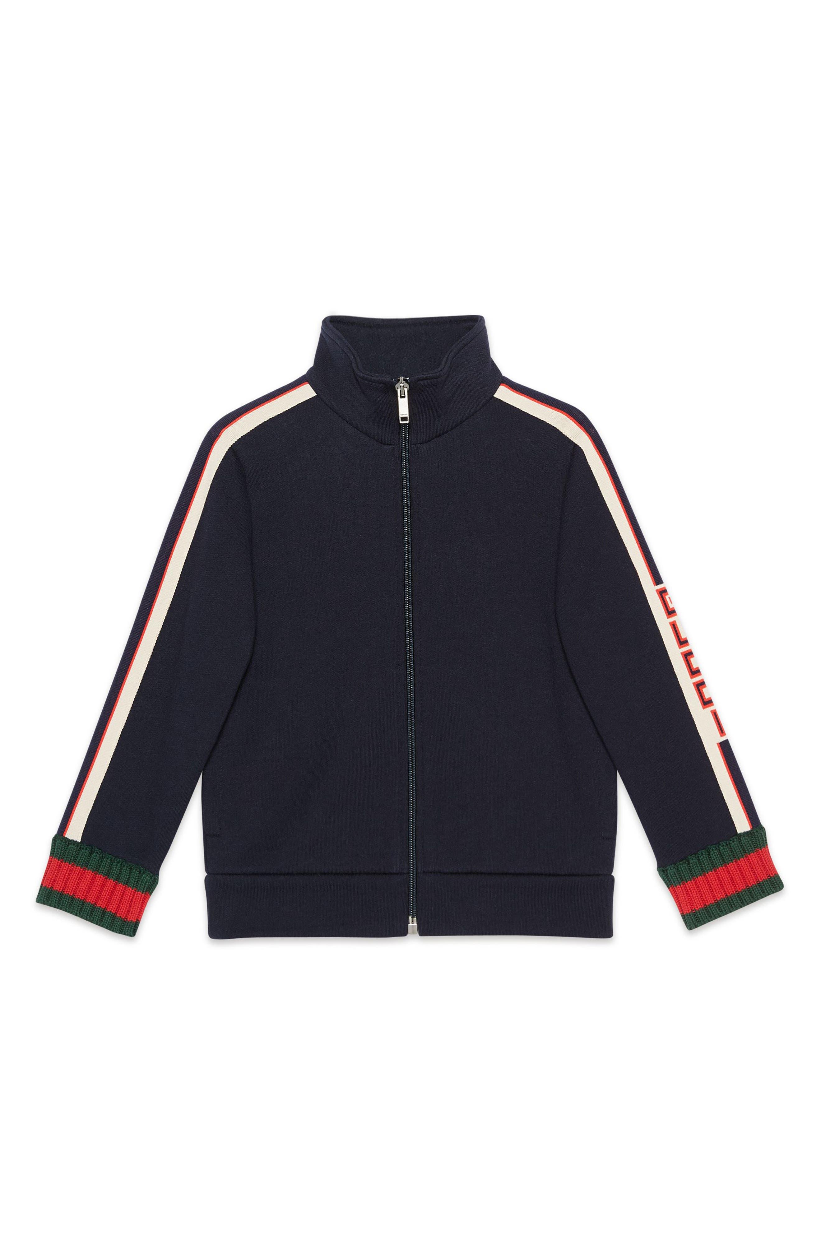 GUCCI, Logo Track Jacket, Main thumbnail 1, color, PERIWINKLE MULTI