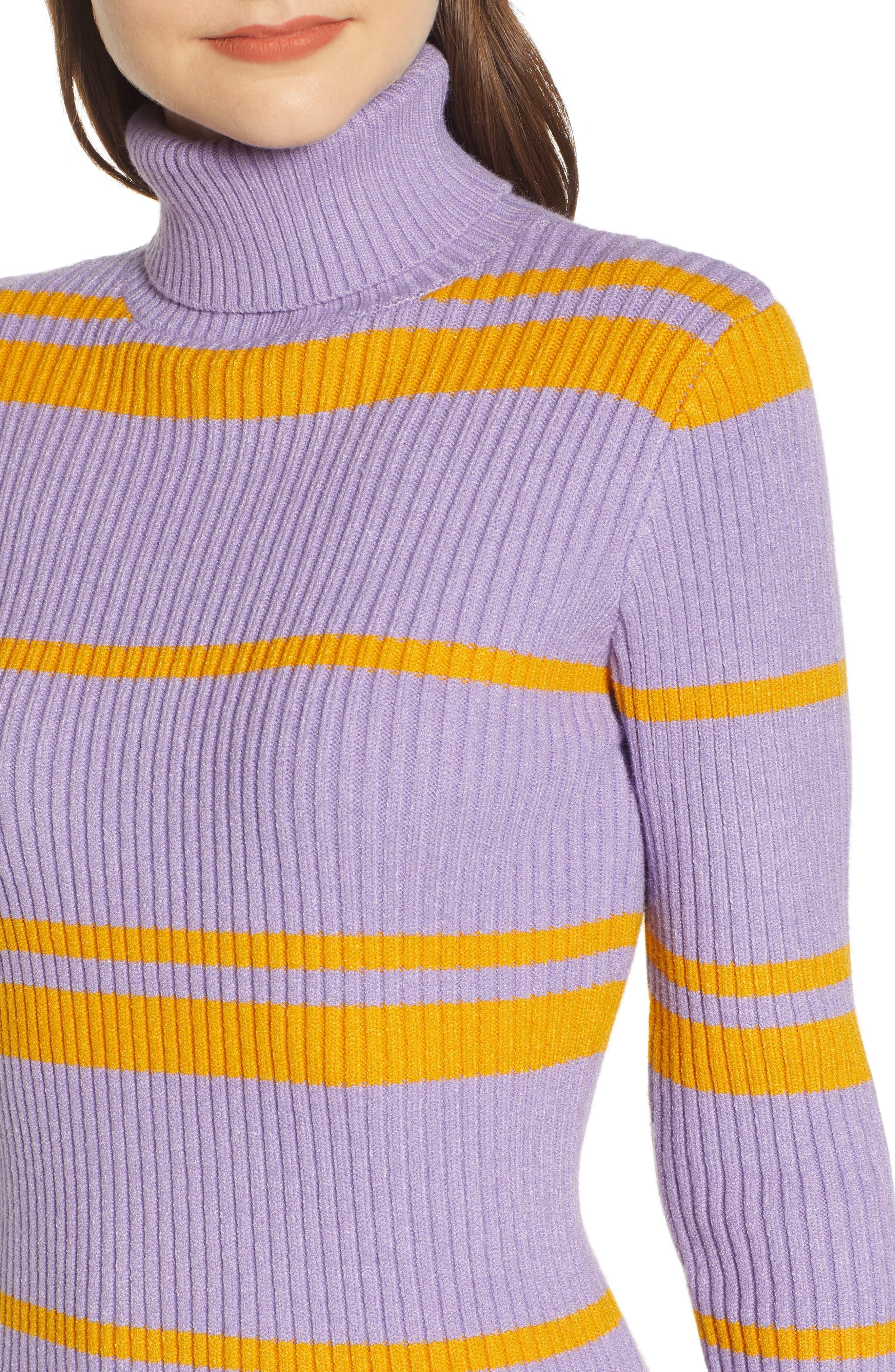 MOON RIVER, Stripe Turtleneck Sweater Dress, Alternate thumbnail 5, color, 500