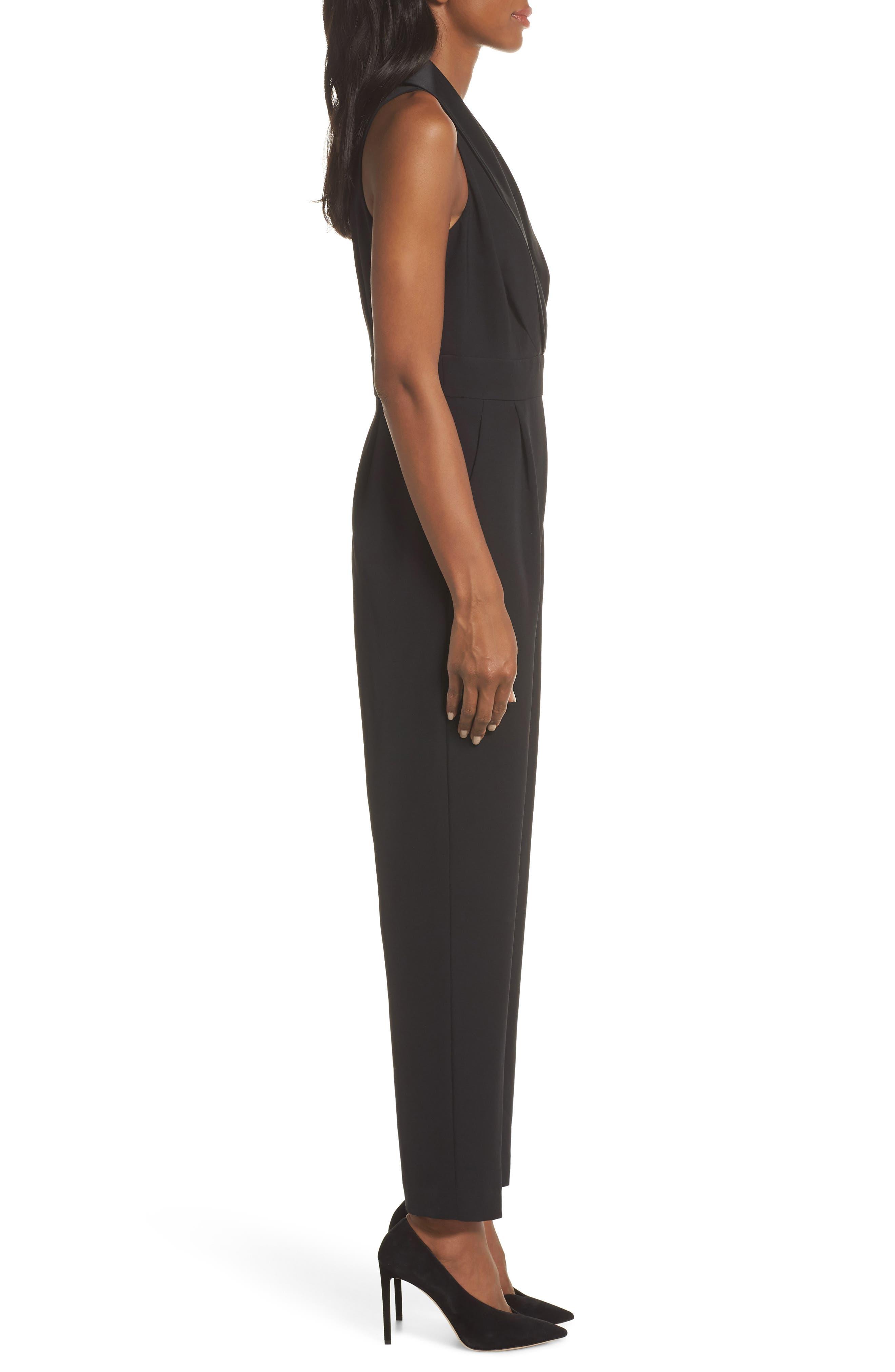ELIZA J, Tuxedo Jumpsuit, Alternate thumbnail 4, color, BLACK