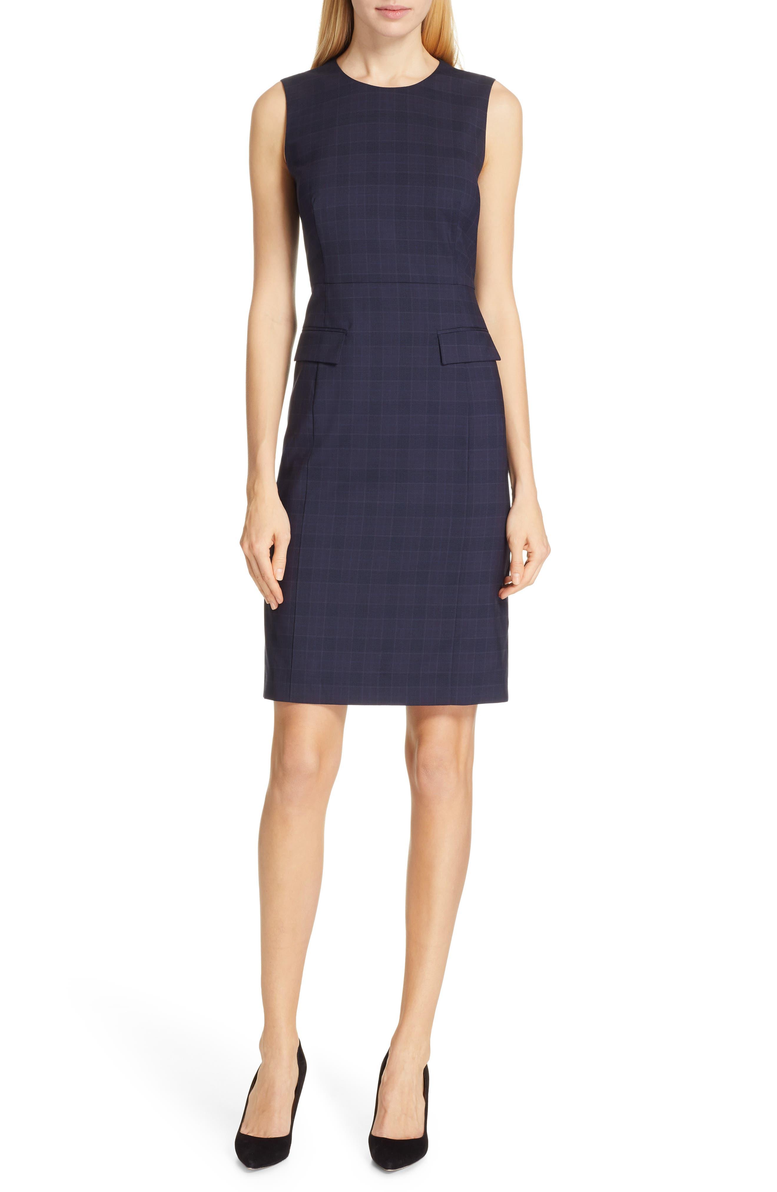 BOSS, Docanes Modern Check Wool Dress, Main thumbnail 1, color, DARK NAVY FANTASY