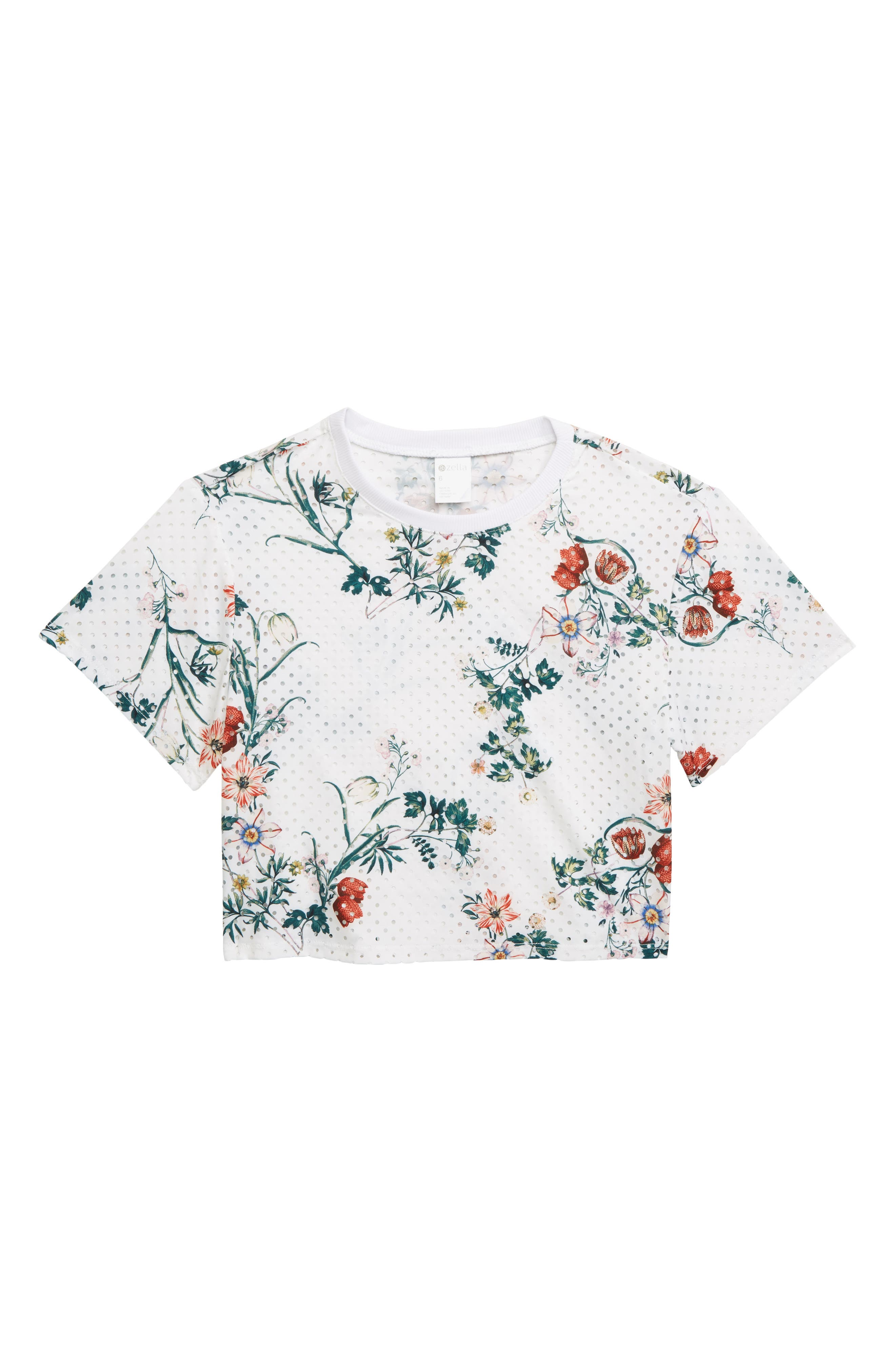 ZELLA GIRL Print Perforated Top, Main, color, WHITE WILD FLOWERS