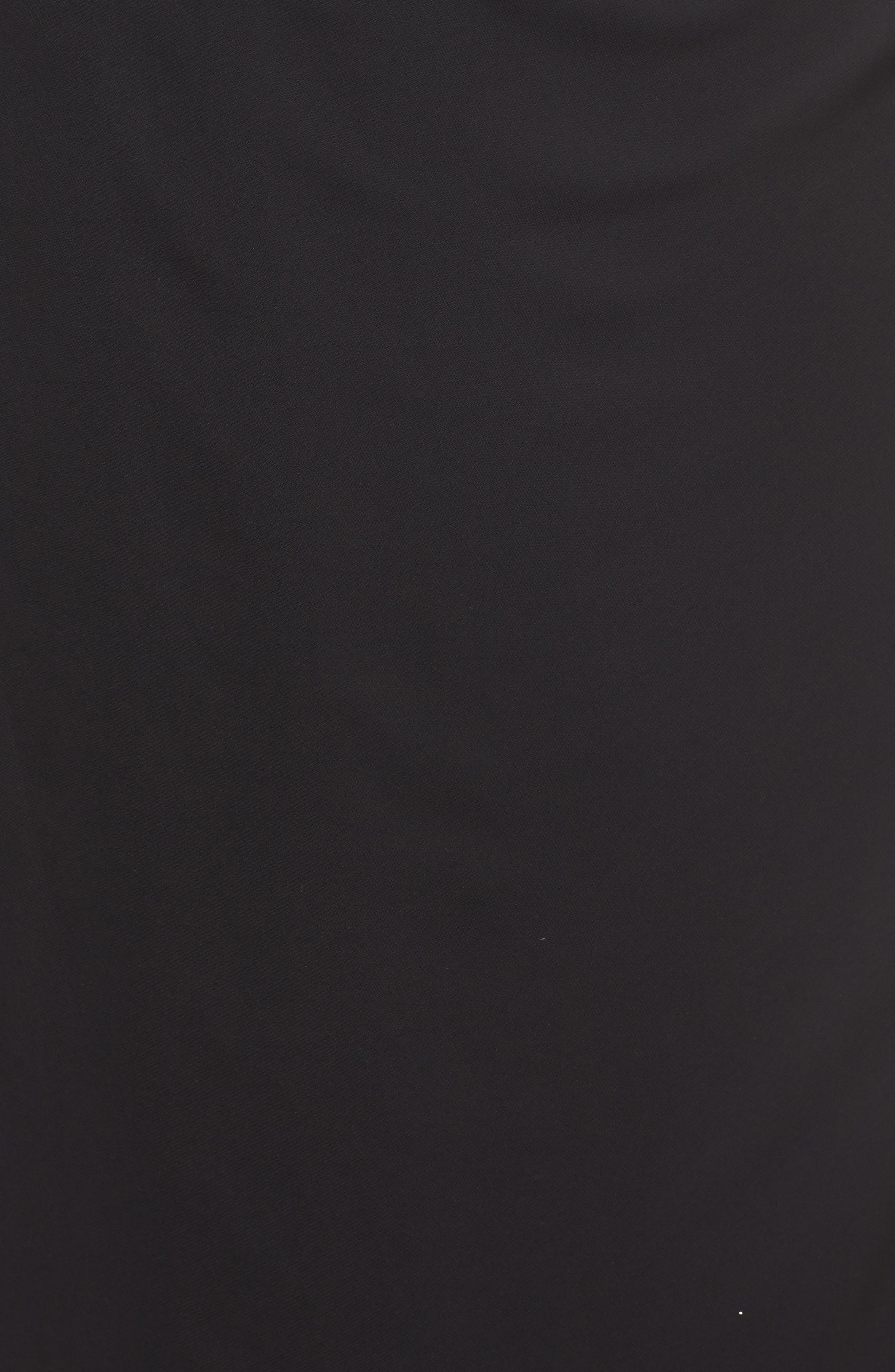 ALEX EVENINGS, Cold Shoulder Mesh Gown, Alternate thumbnail 5, color, BLACK