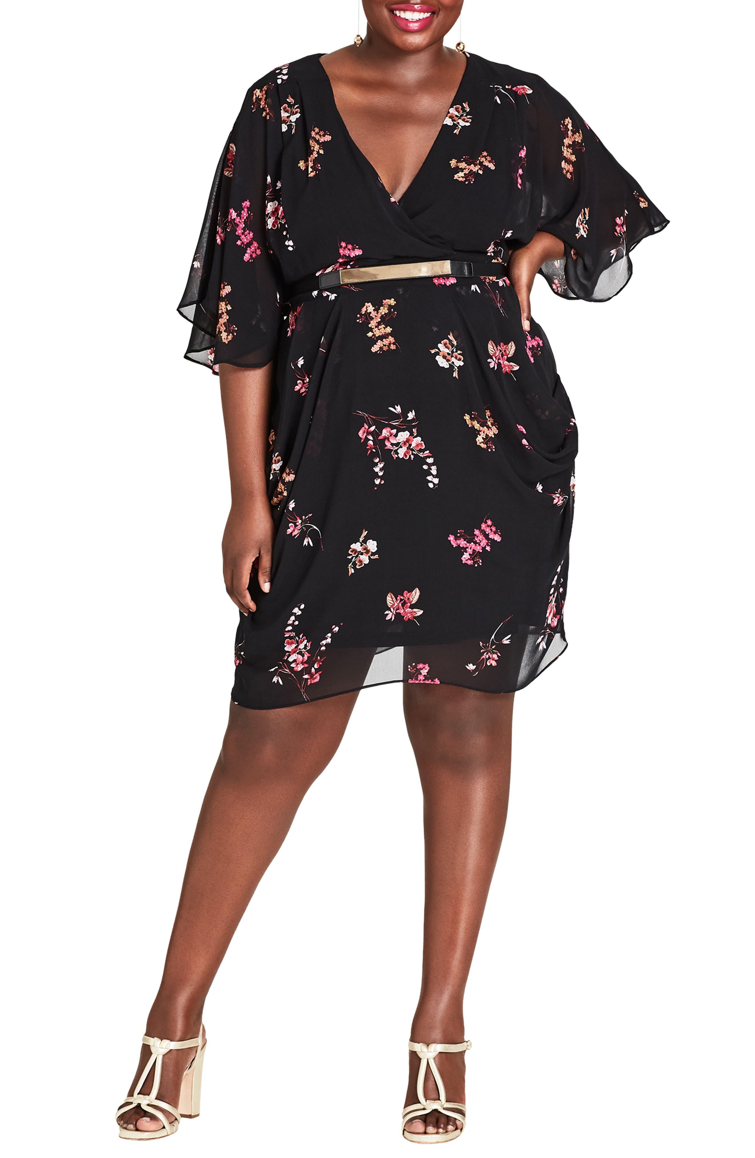 Plus Size City Chic Akari Floral Dress, Black