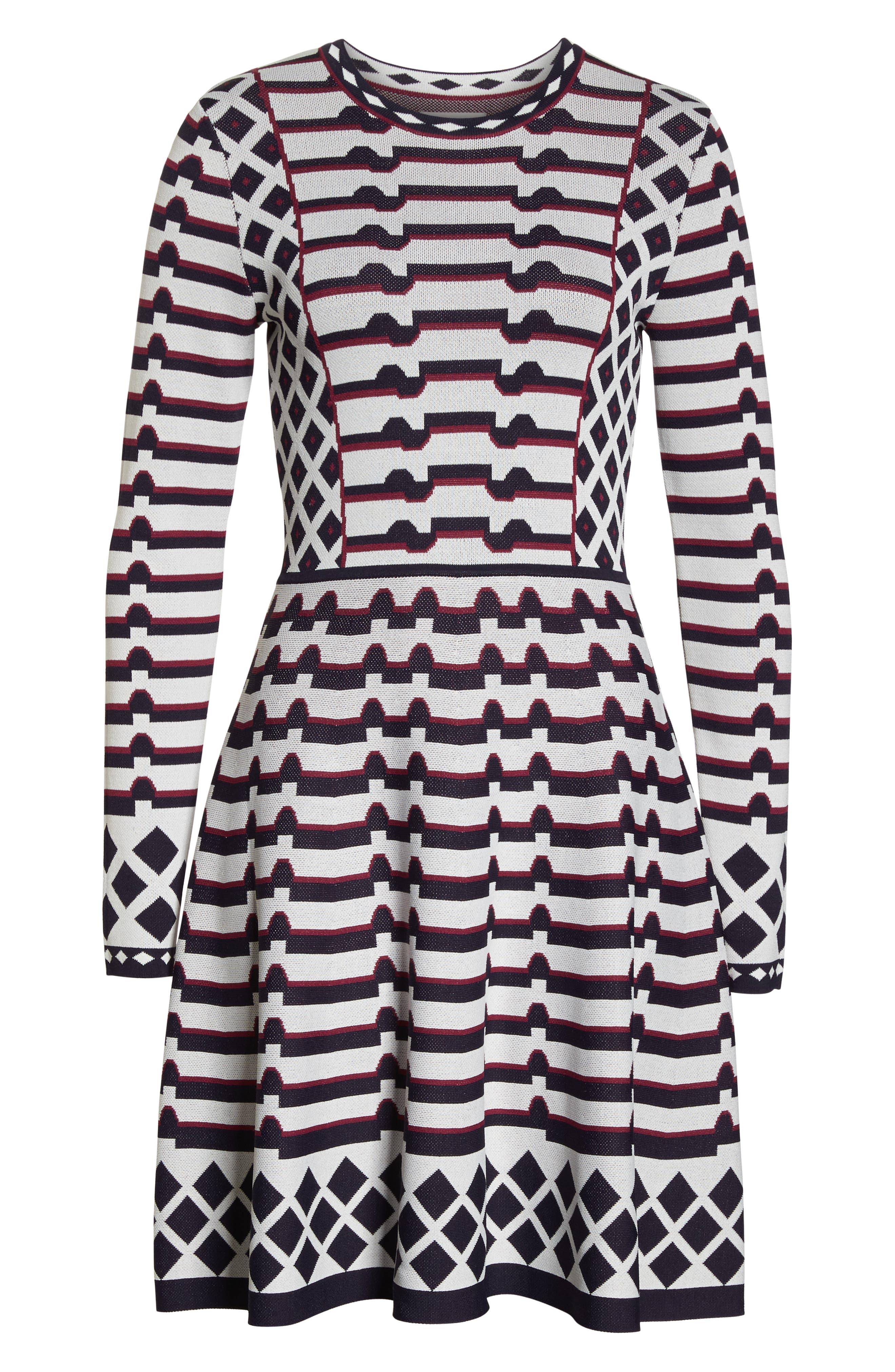 ELIZA J, Artwork Jacquard Sweater Dress, Alternate thumbnail 7, color, 410