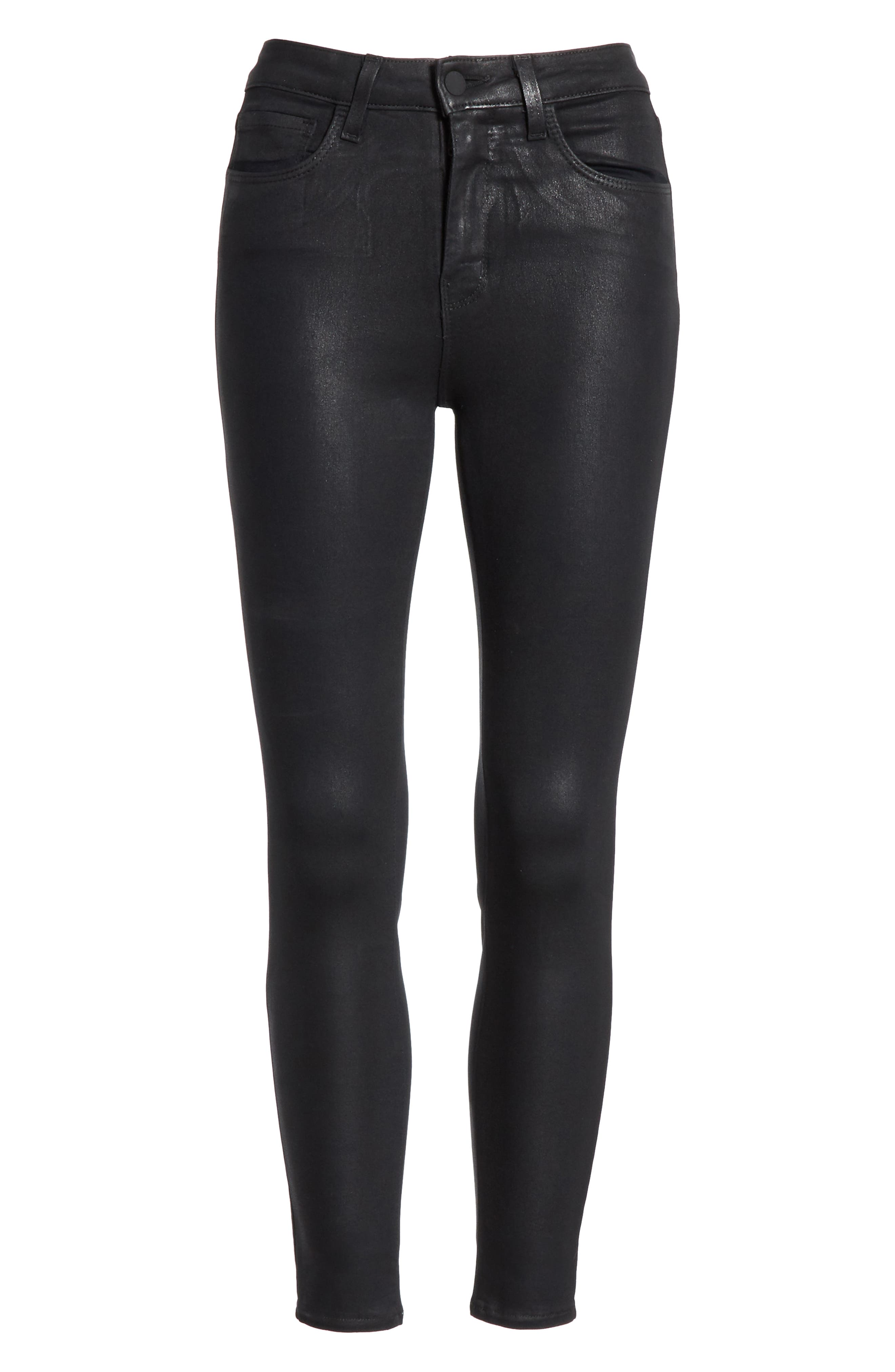 L'AGENCE, Coated High Waist Skinny Jeans, Alternate thumbnail 6, color, BLACK COATED