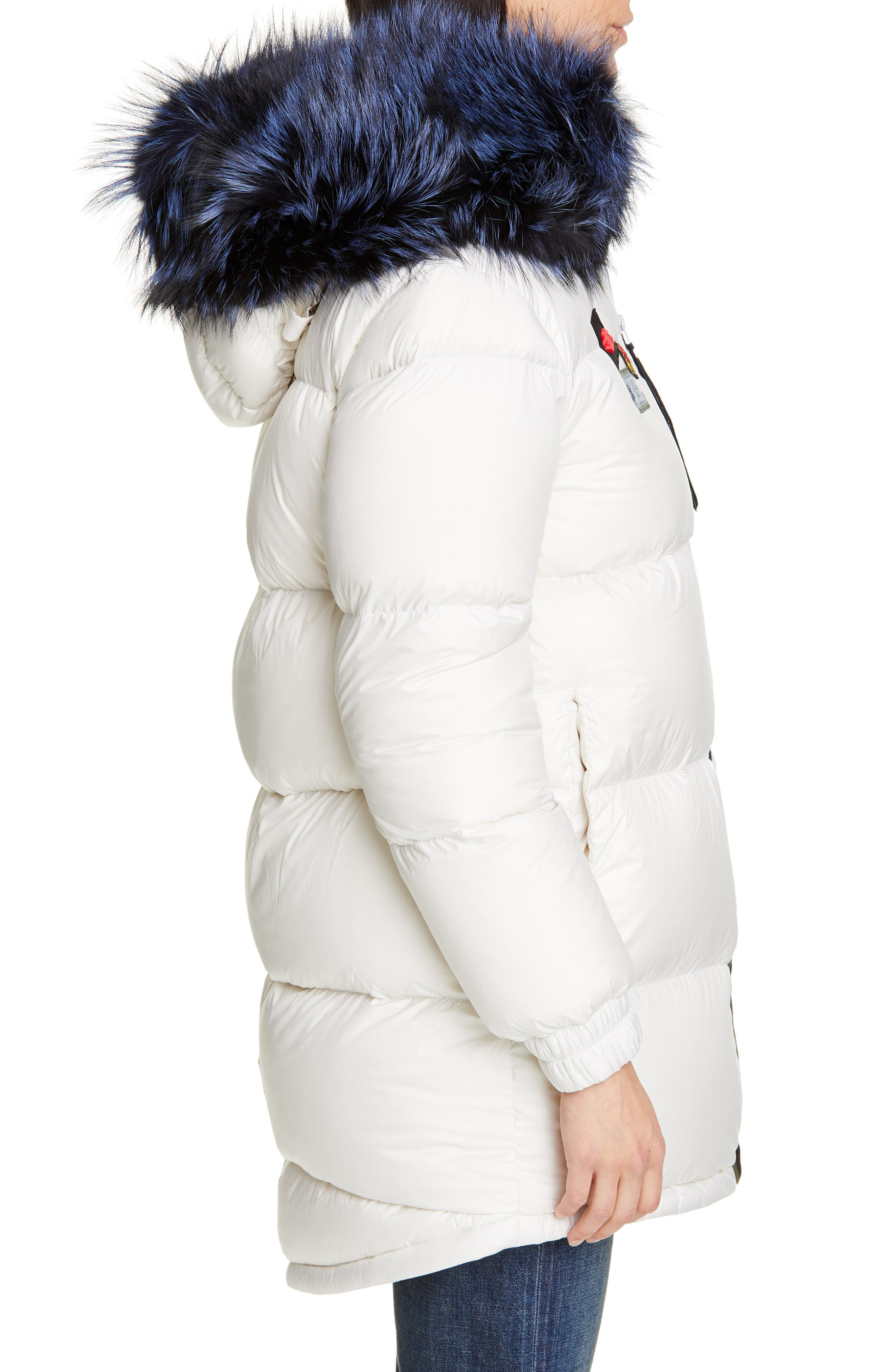 MR & MRS ITALY, Reversible Waterproof Down Parka with Removable Genuine Fox Fur Trim, Alternate thumbnail 4, color, WHITE / RED