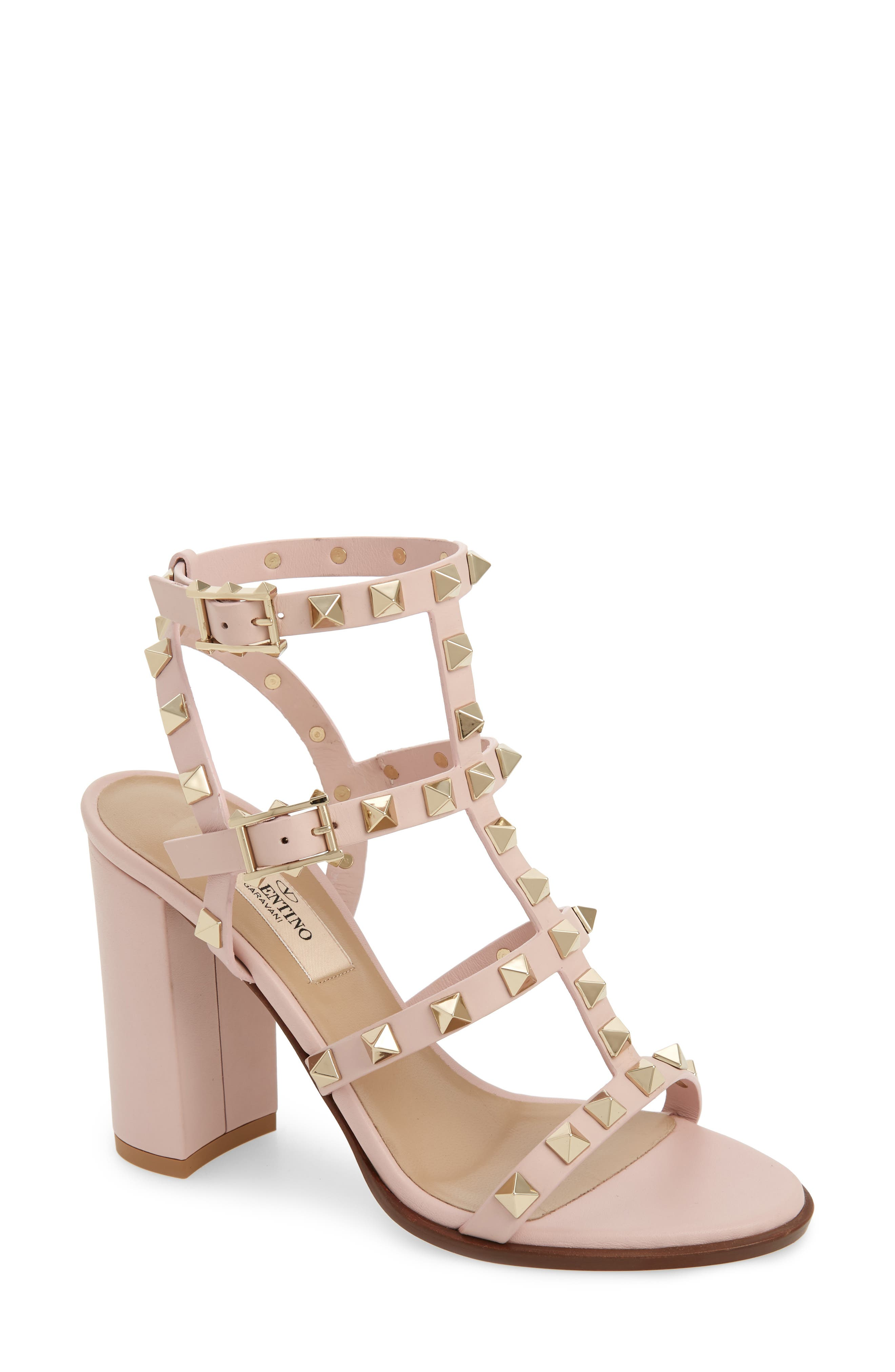 VALENTINO GARAVANI Rockstud Block Heel Sandal, Main, color, WATER ROSE