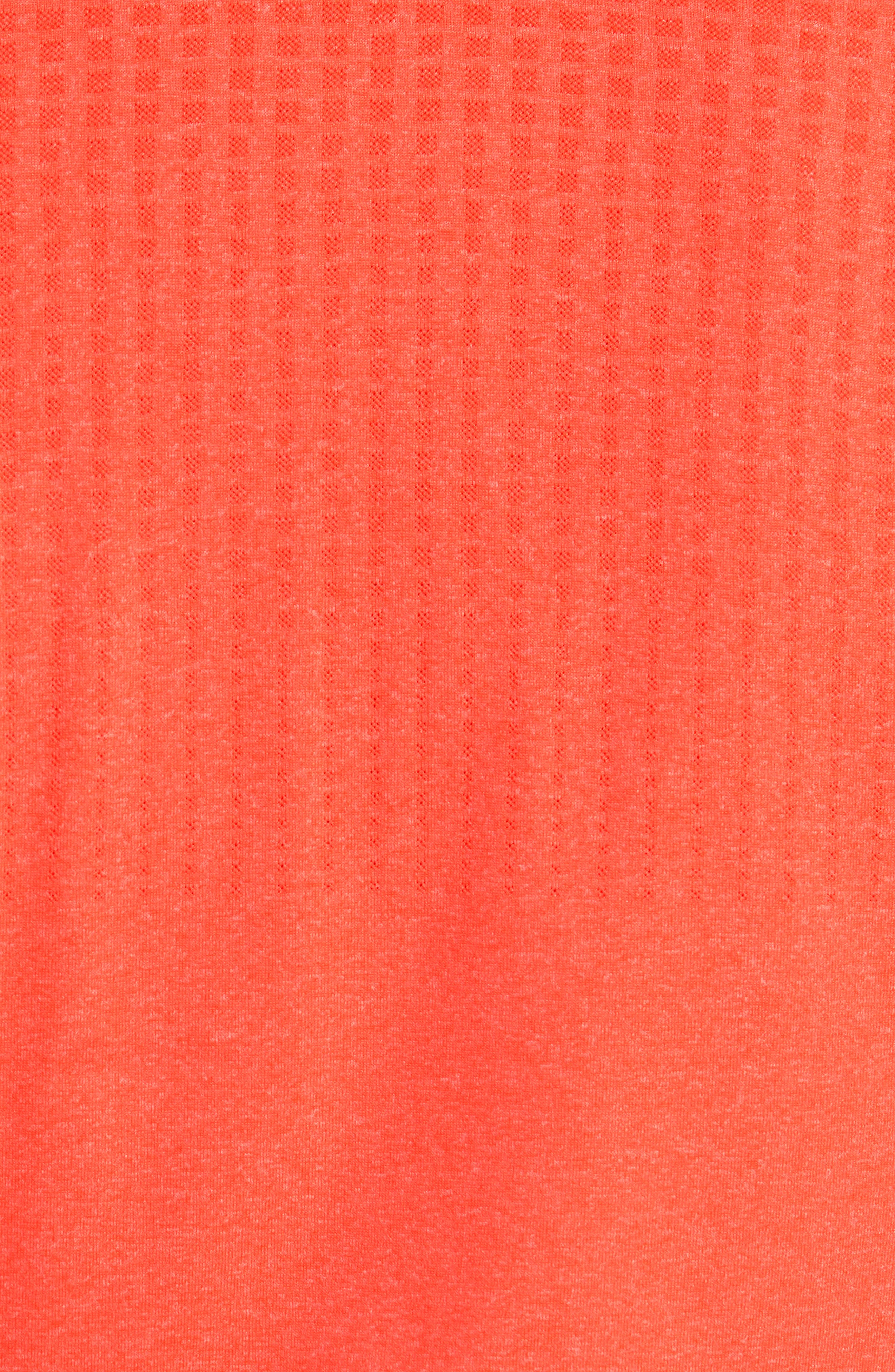 UNDER ARMOUR, Threadborne Outer Glow Regular Fit Polo Shirt, Alternate thumbnail 5, color, NEON CORAL LIGHT/ HEATHER