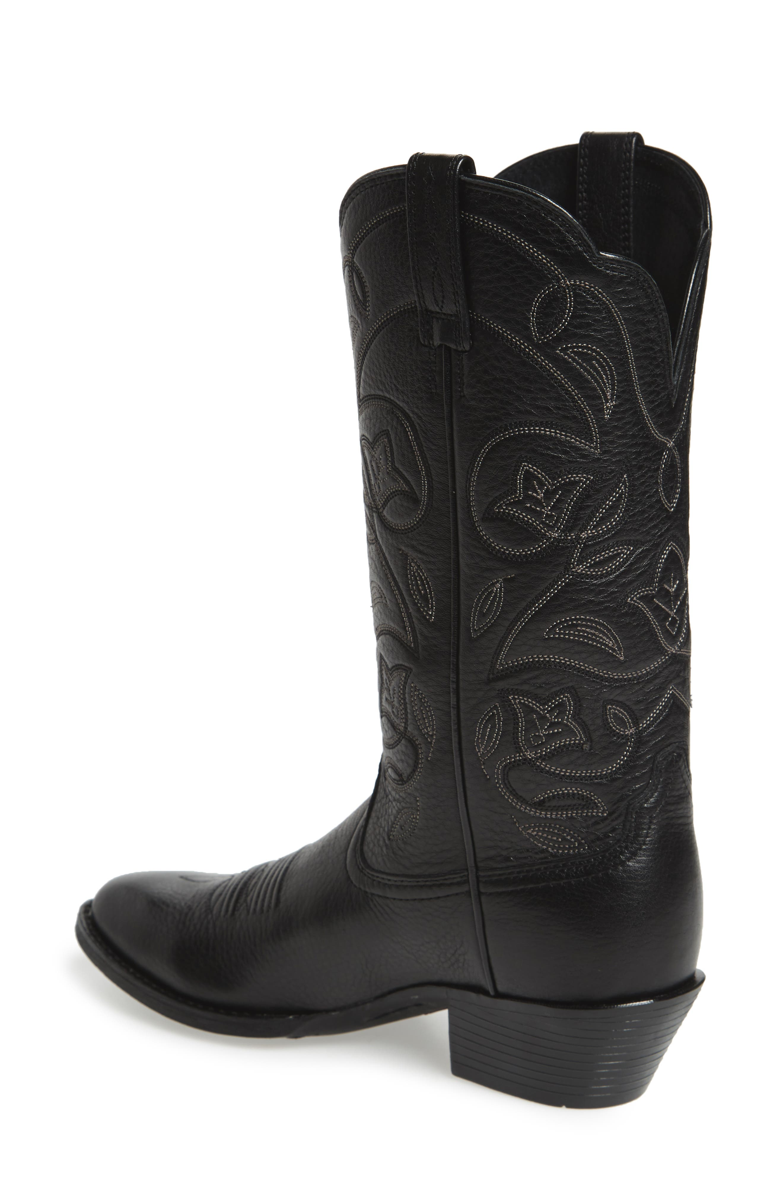 ARIAT, Heritage Western R-Toe Boot, Alternate thumbnail 2, color, BLACK LEATHER