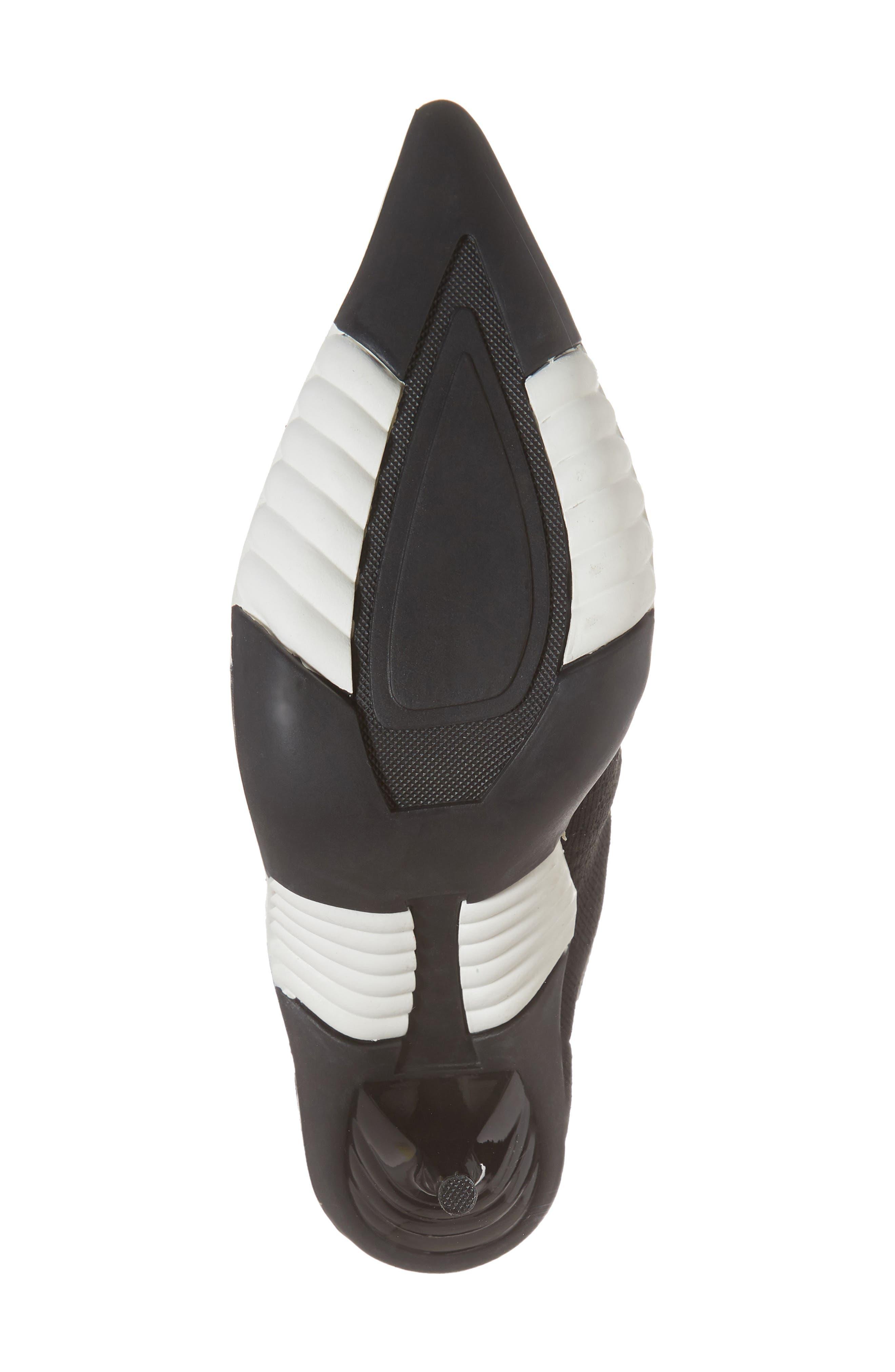 JEFFREY CAMPBELL, Goal Sock Sneaker Bootie, Alternate thumbnail 6, color, BLACK/ WHITE FABRIC