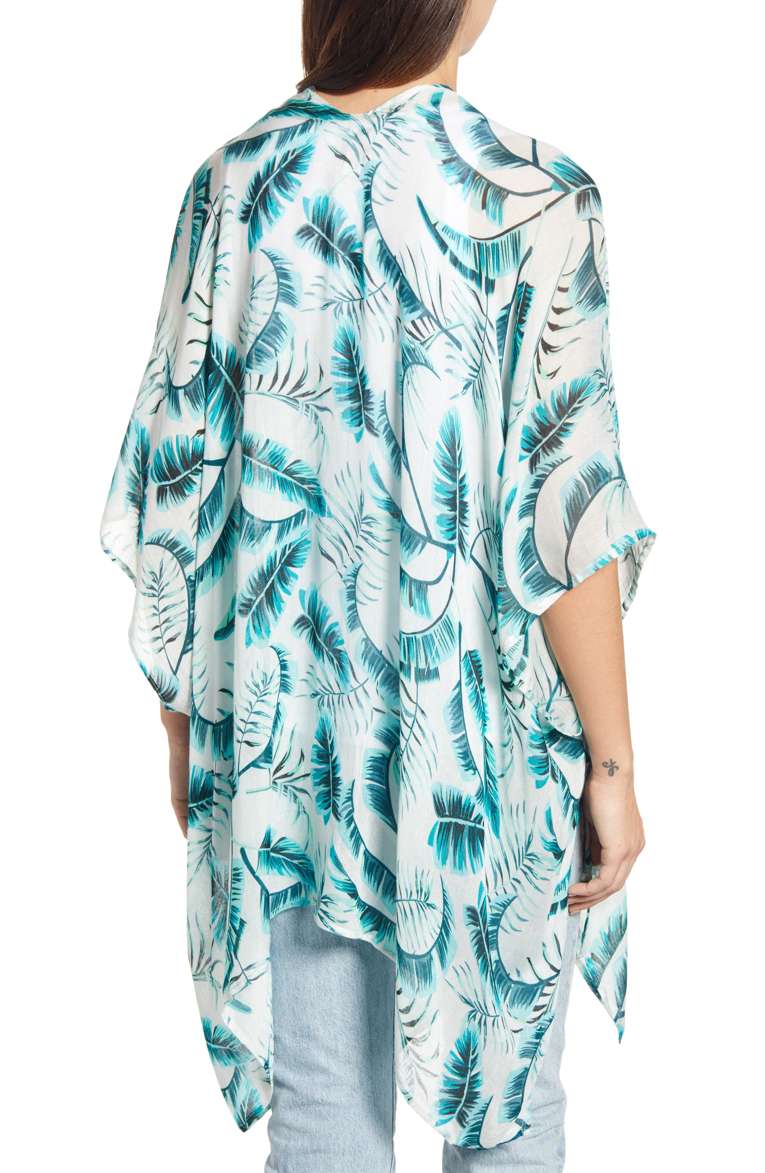 ECHO, Palm Leaf Kimono, Alternate thumbnail 2, color, EMERALD SEA