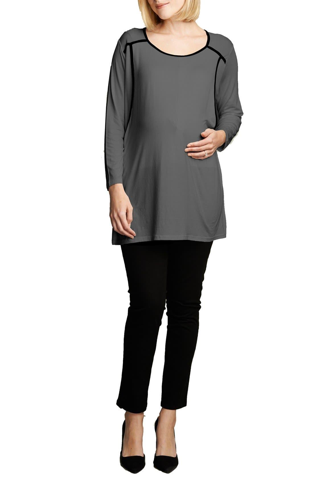 MATERNAL AMERICA Long Sleeve Nursing Top, Main, color, CHARCOAL/BLACK