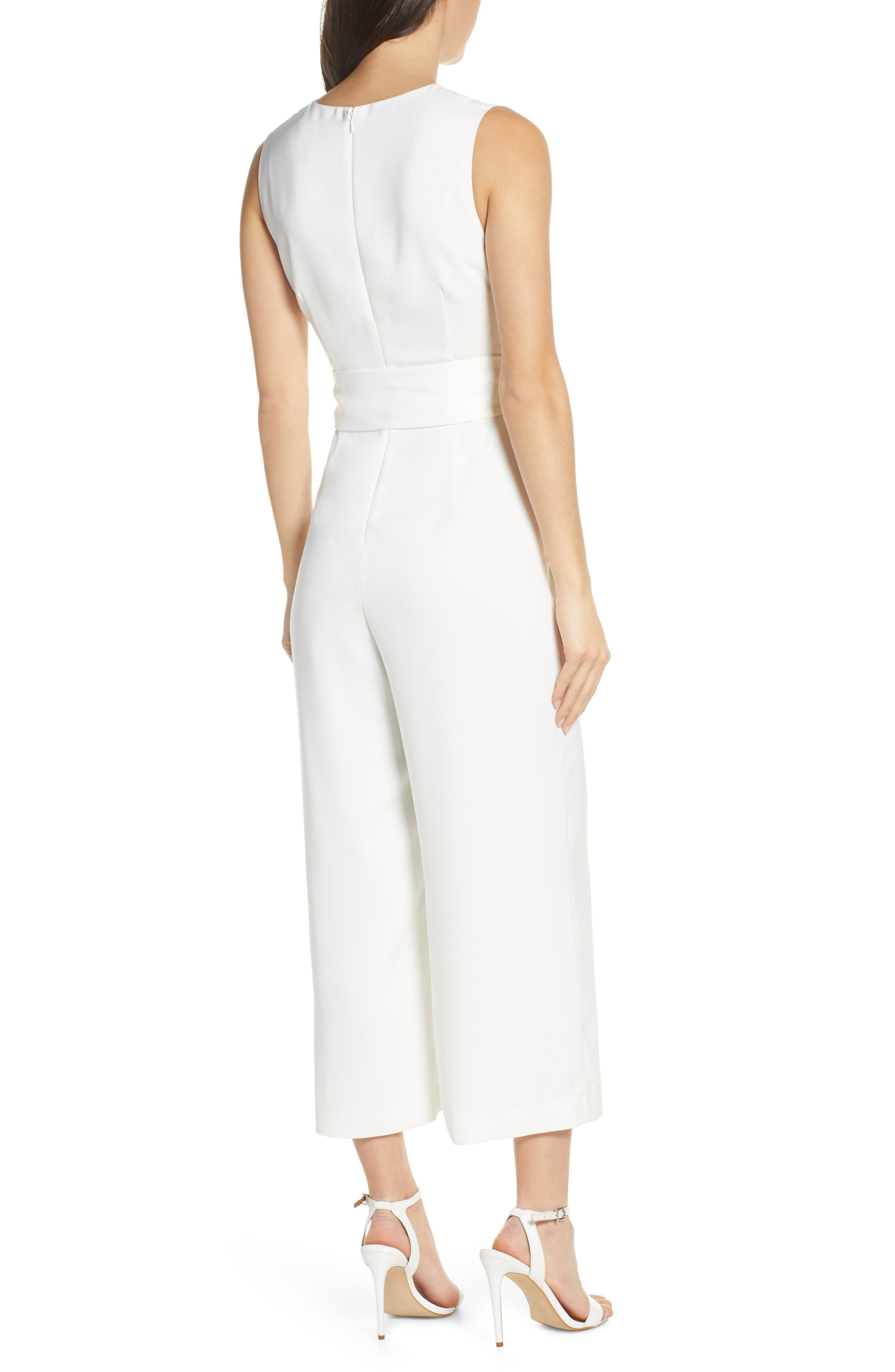 CHARLES HENRY, Sleeveless Culotte Jumpsuit, Alternate thumbnail 2, color, IVORY