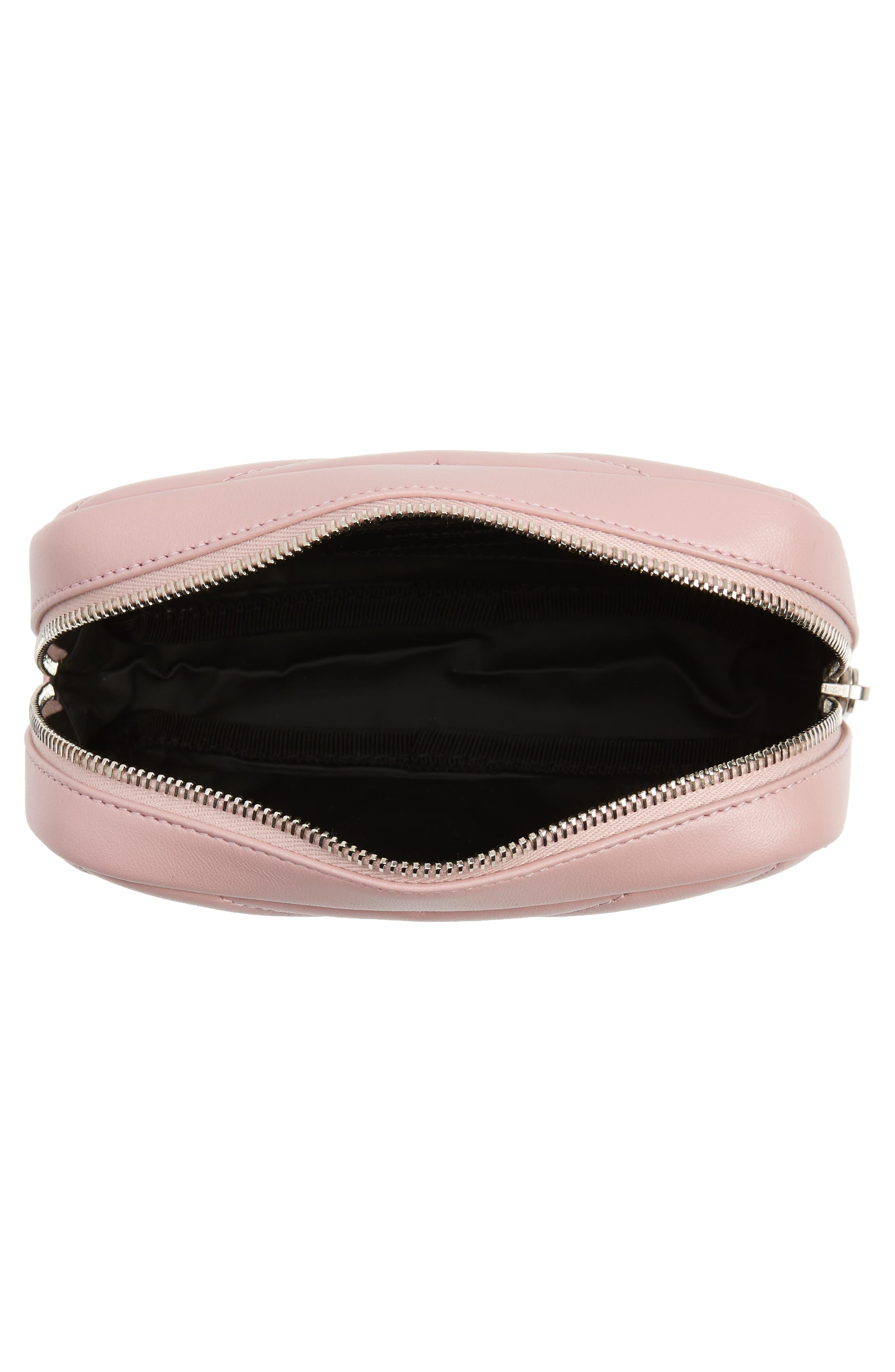 SAINT LAURENT, Loulou Matelassé Leather Cosmetics Bag, Alternate thumbnail 3, color, TENDER PINK