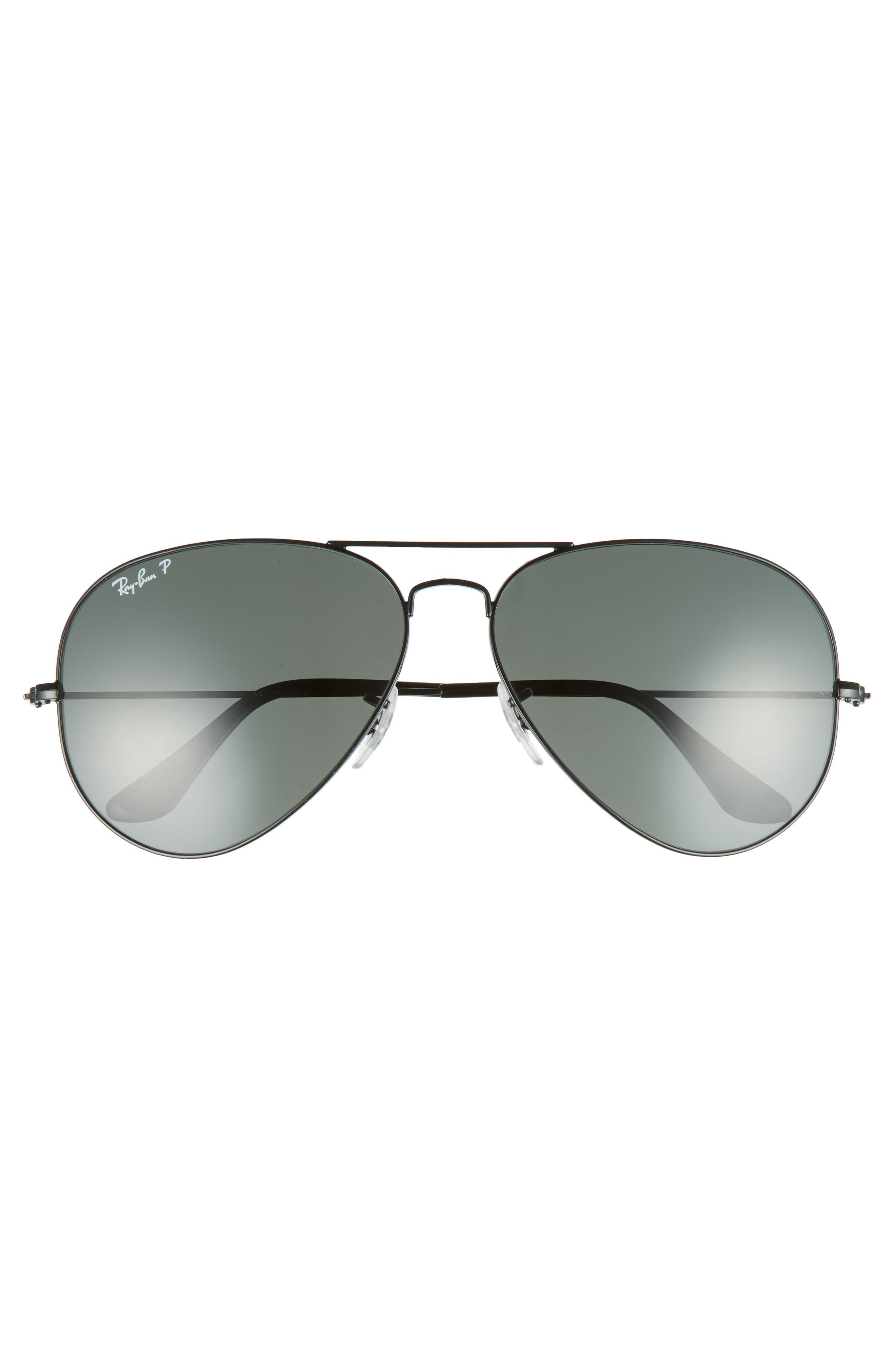 RAY-BAN, Original 62mm Polarized Aviator Sunglasses, Alternate thumbnail 3, color, BLACK/ POLARIZED
