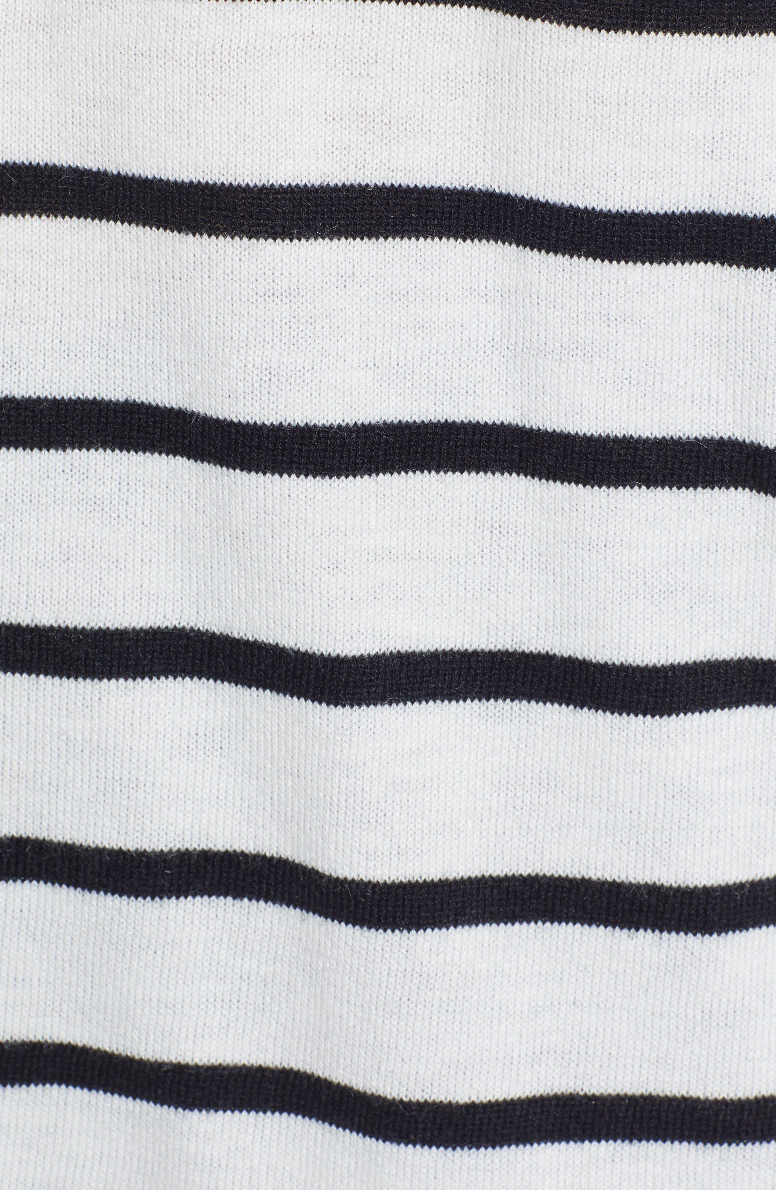 CASLON<SUP>®</SUP>, High-Low V-neck Sweater, Alternate thumbnail 5, color, IVORY- BLACK PRITHI STRIPE
