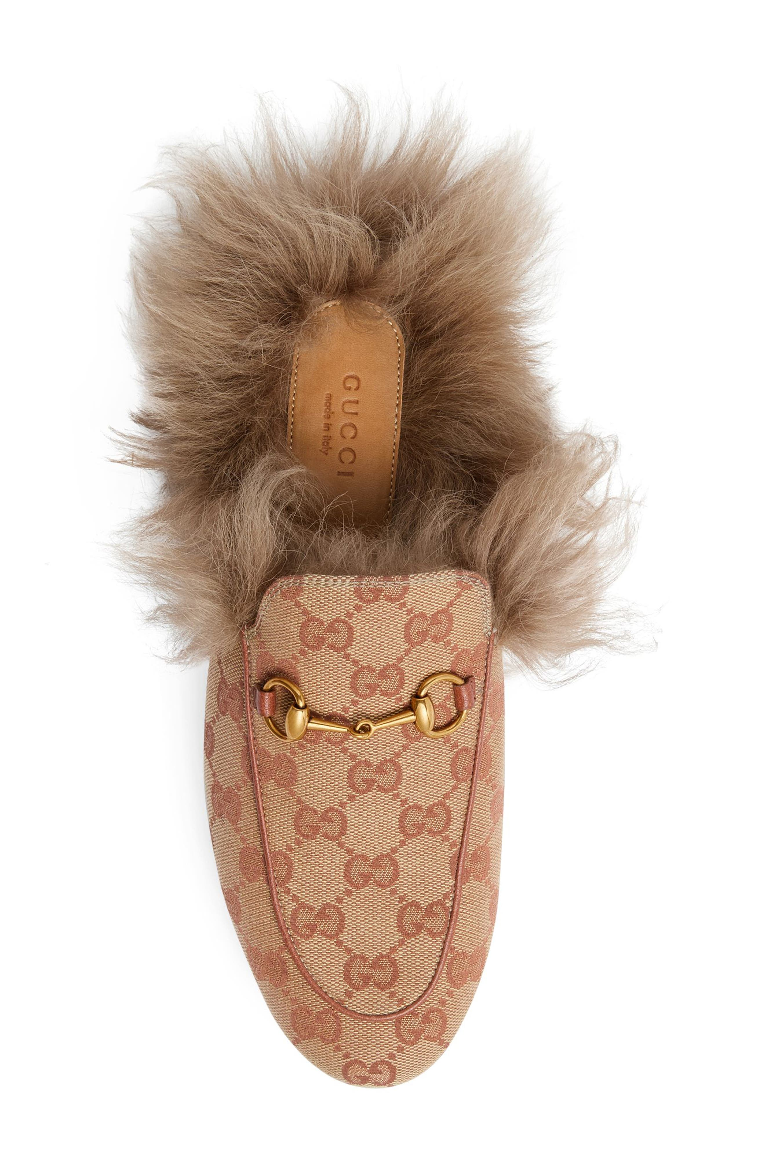 GUCCI, Princetown Genuine Shearling Logo Mule, Alternate thumbnail 4, color, BEIGE