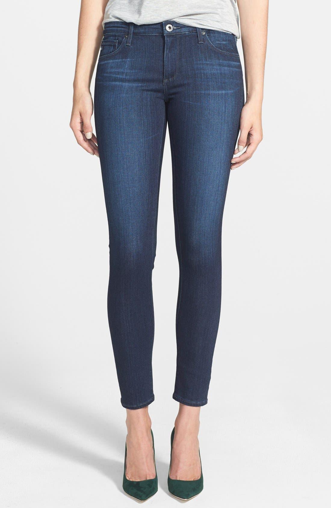AG, The Legging Ankle Super Skinny Jeans, Alternate thumbnail 8, color, COAL BLUE