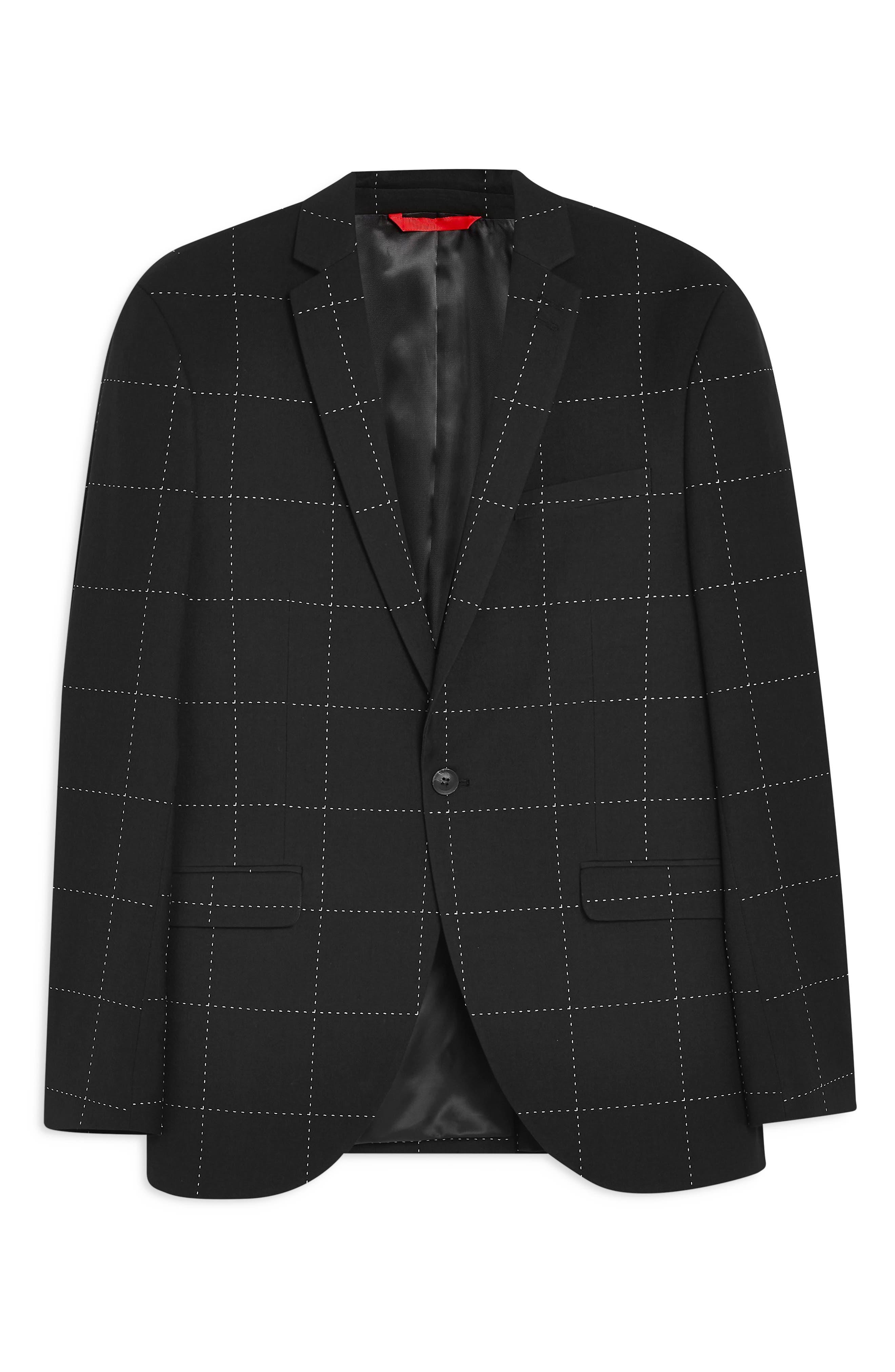 TOPMAN, Slim Fit Topstitch Suit Jacket, Alternate thumbnail 4, color, BLACK