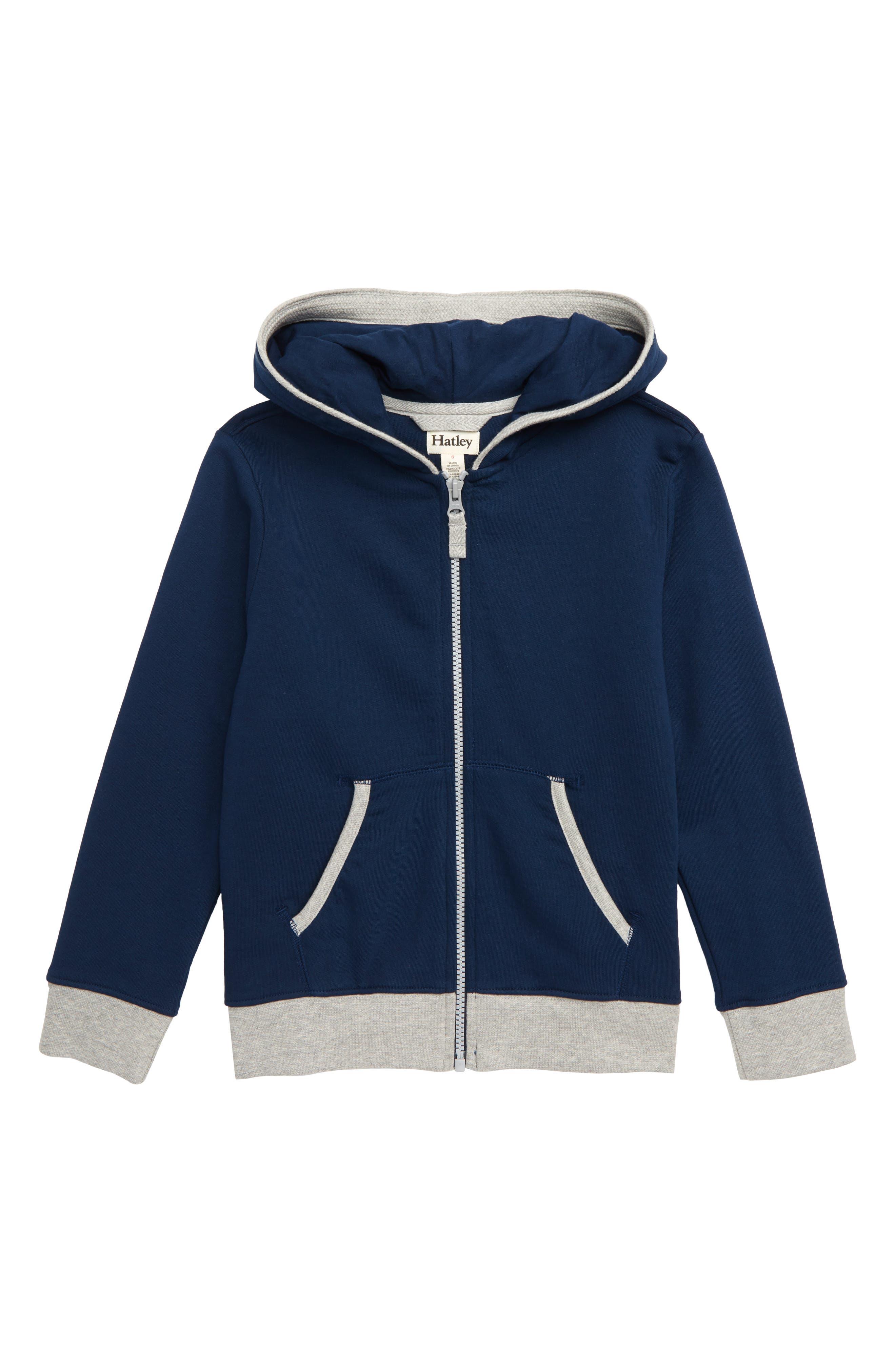 Boys Hatley Front Zip Hoodie Size 7  Blue