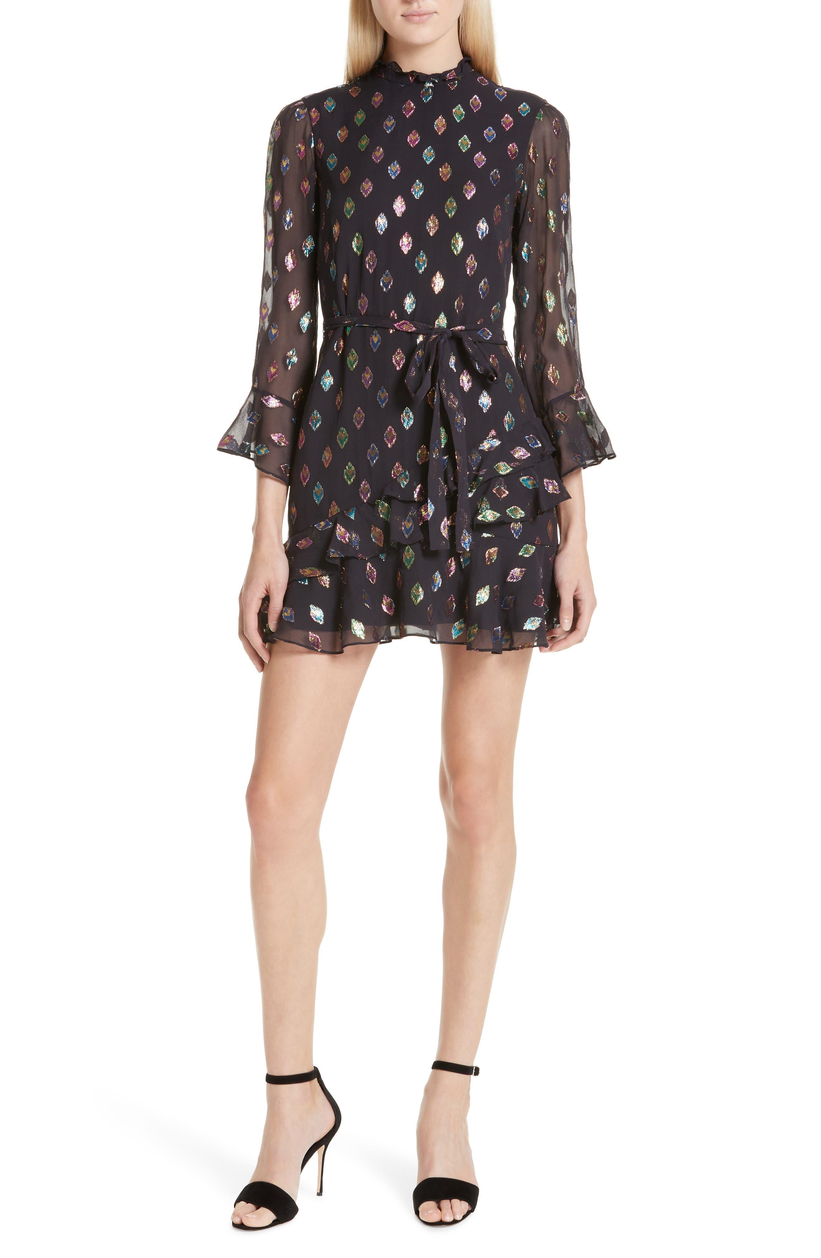 SALONI, Marissa Metallic Fil Coupé Silk Blend Minidress, Main thumbnail 1, color, 003