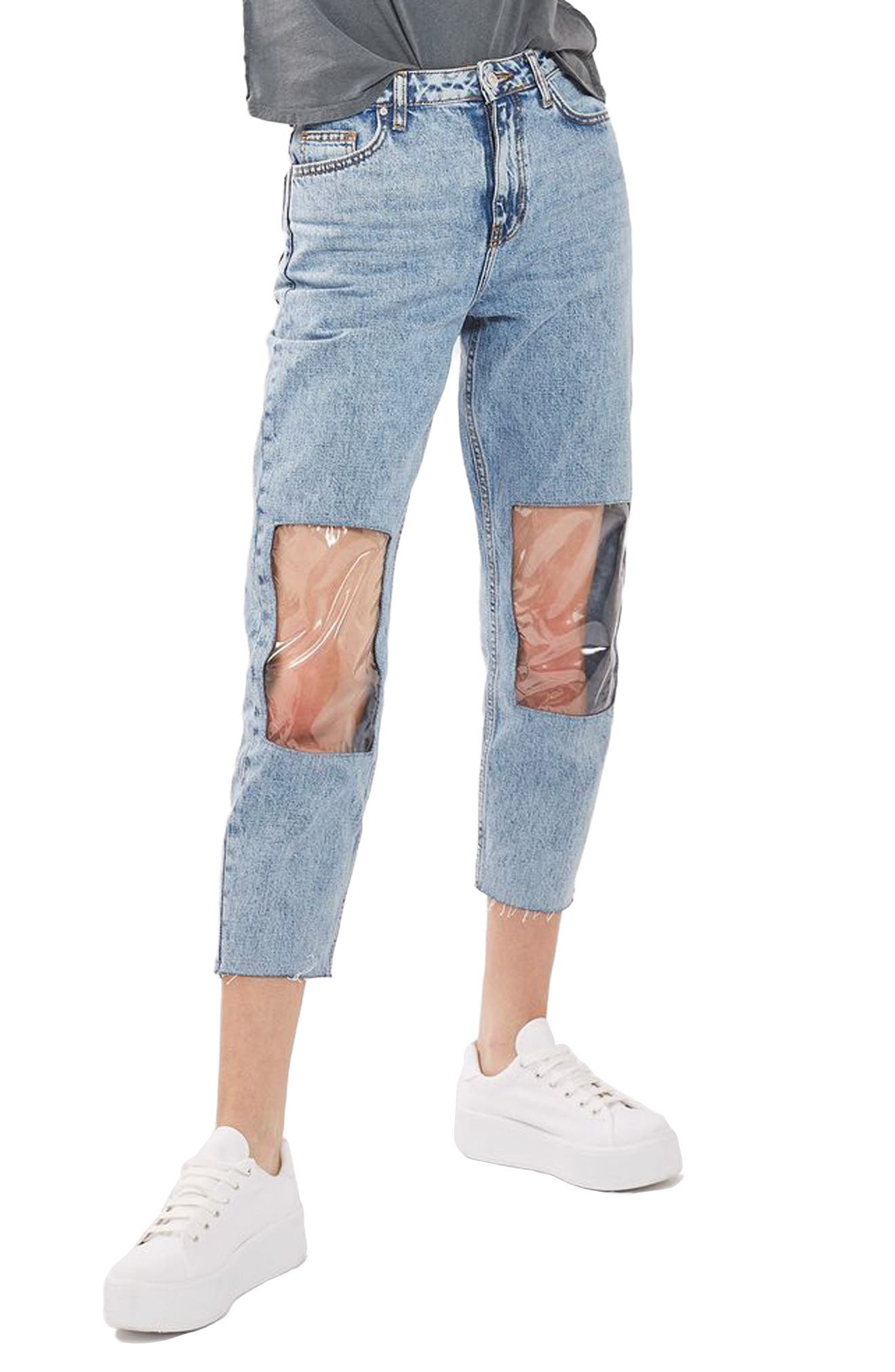 TOPSHOP, Clear Knee Mom Jeans, Main thumbnail 1, color, 400
