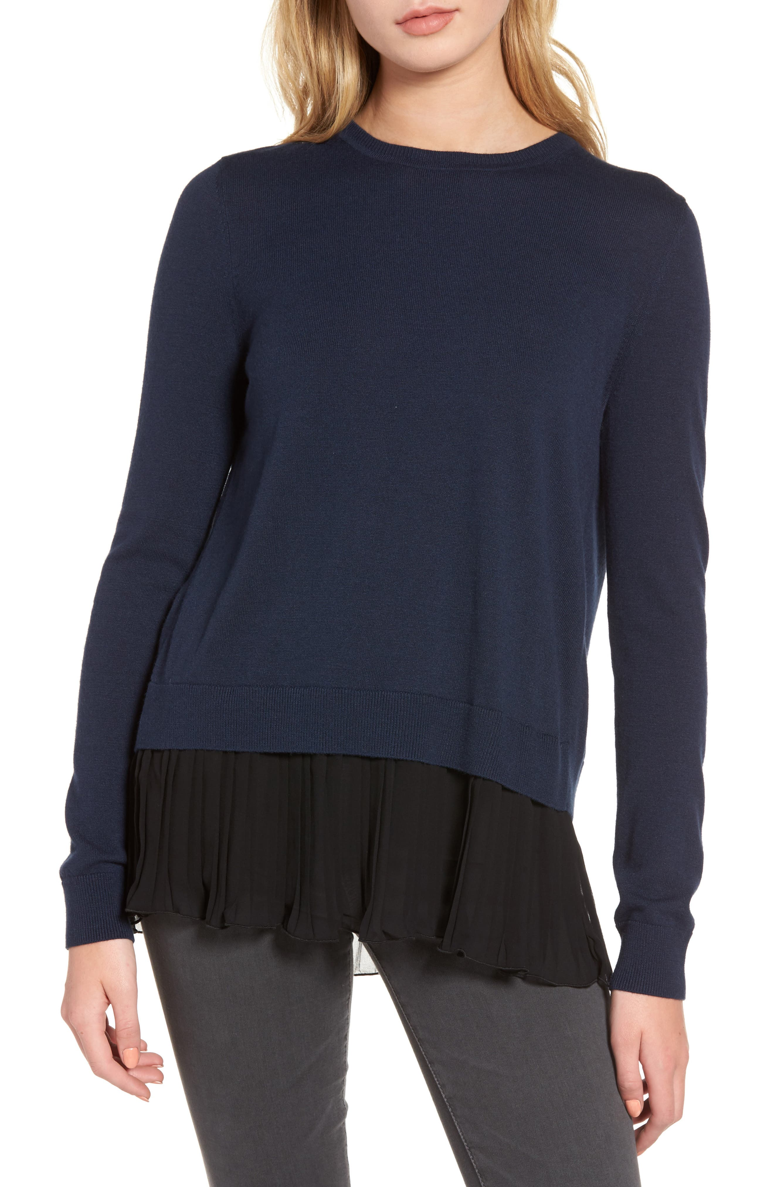 CHELSEA28, Pleated Hem Sweater, Main thumbnail 1, color, 410