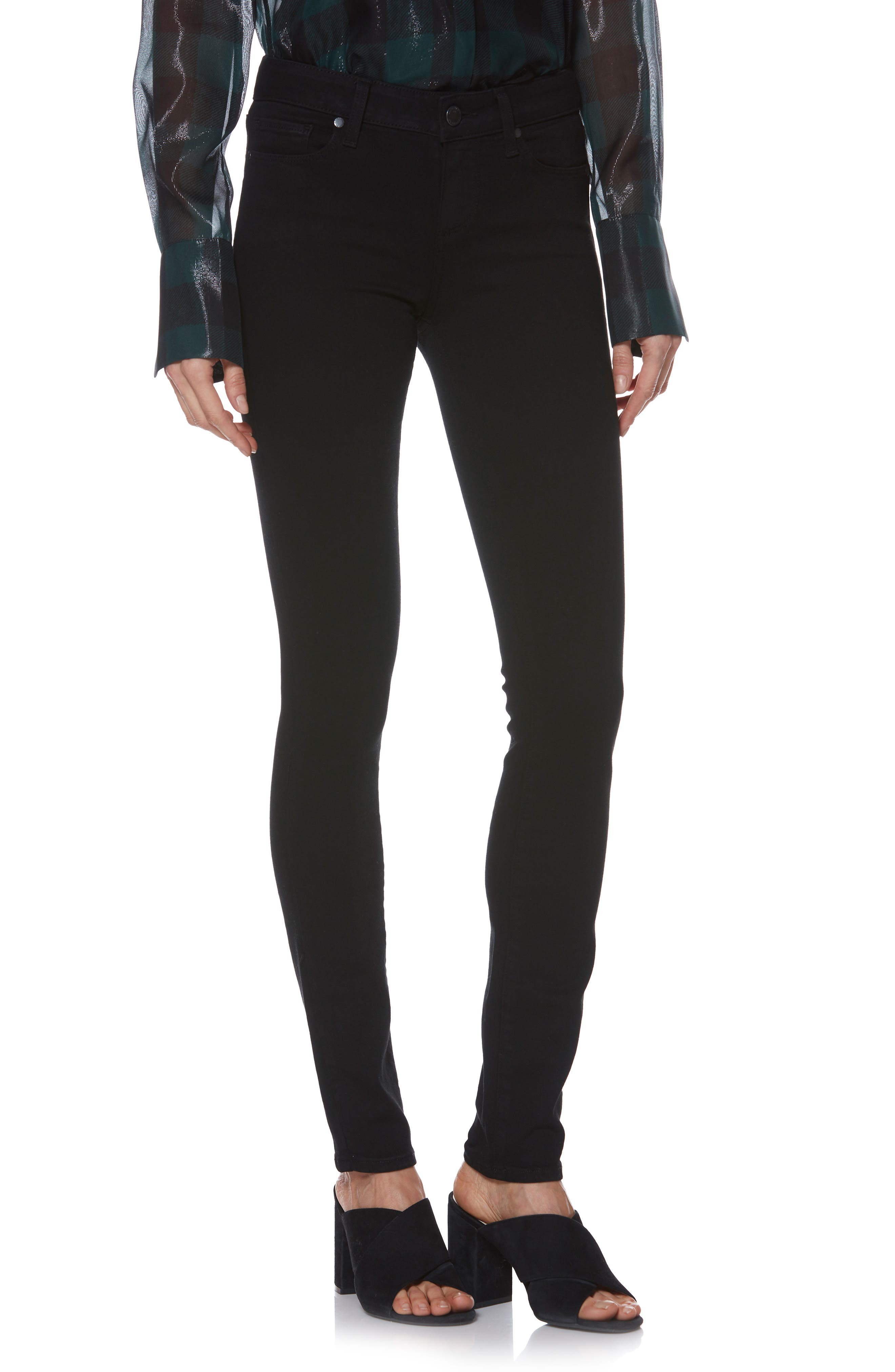 PAIGE, Transcend - Skyline Skinny Jeans, Alternate thumbnail 2, color, BLACK SHADOW