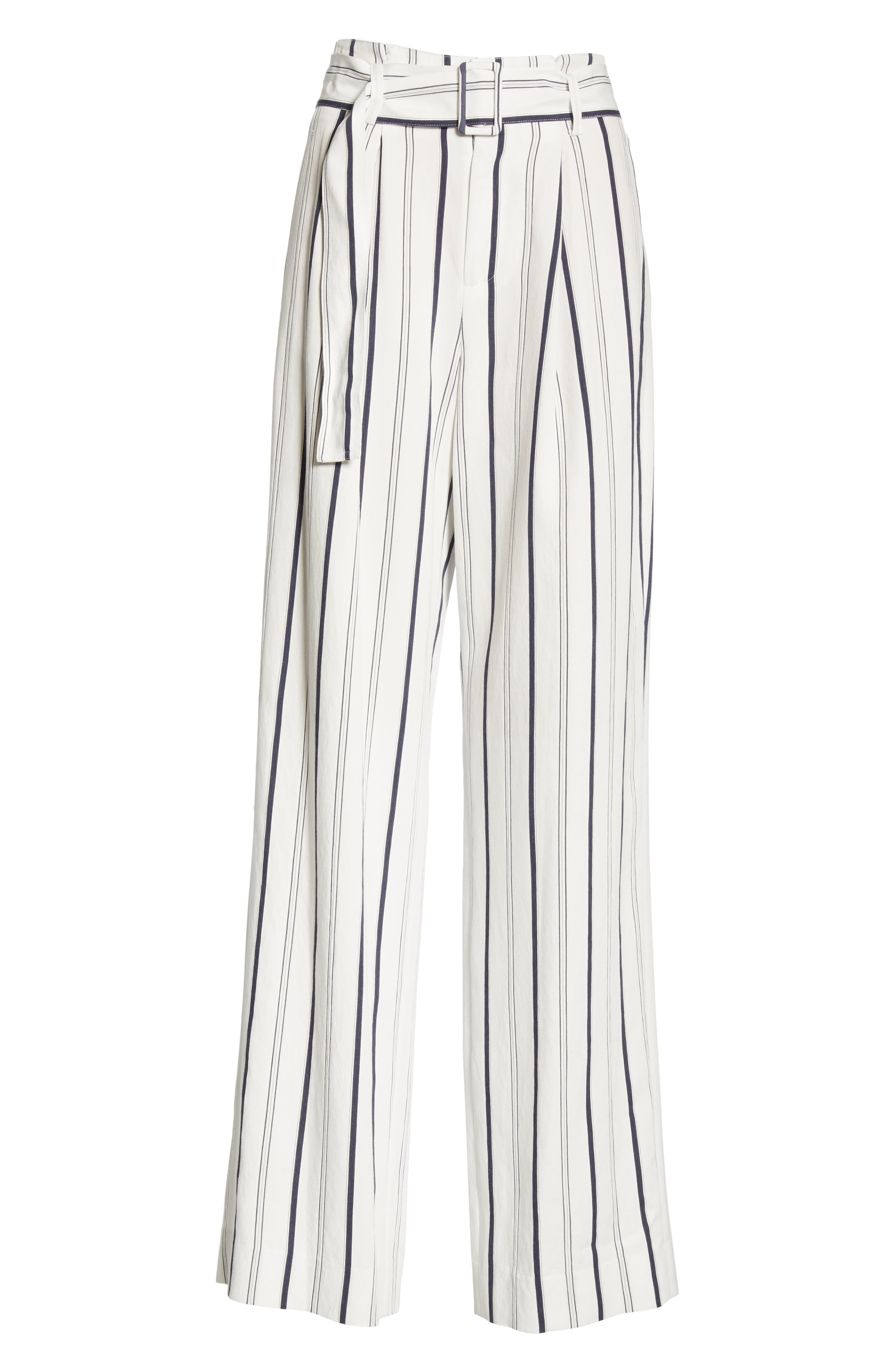 VINCE, Belted Stripe Pants, Alternate thumbnail 7, color, OFF WHITE