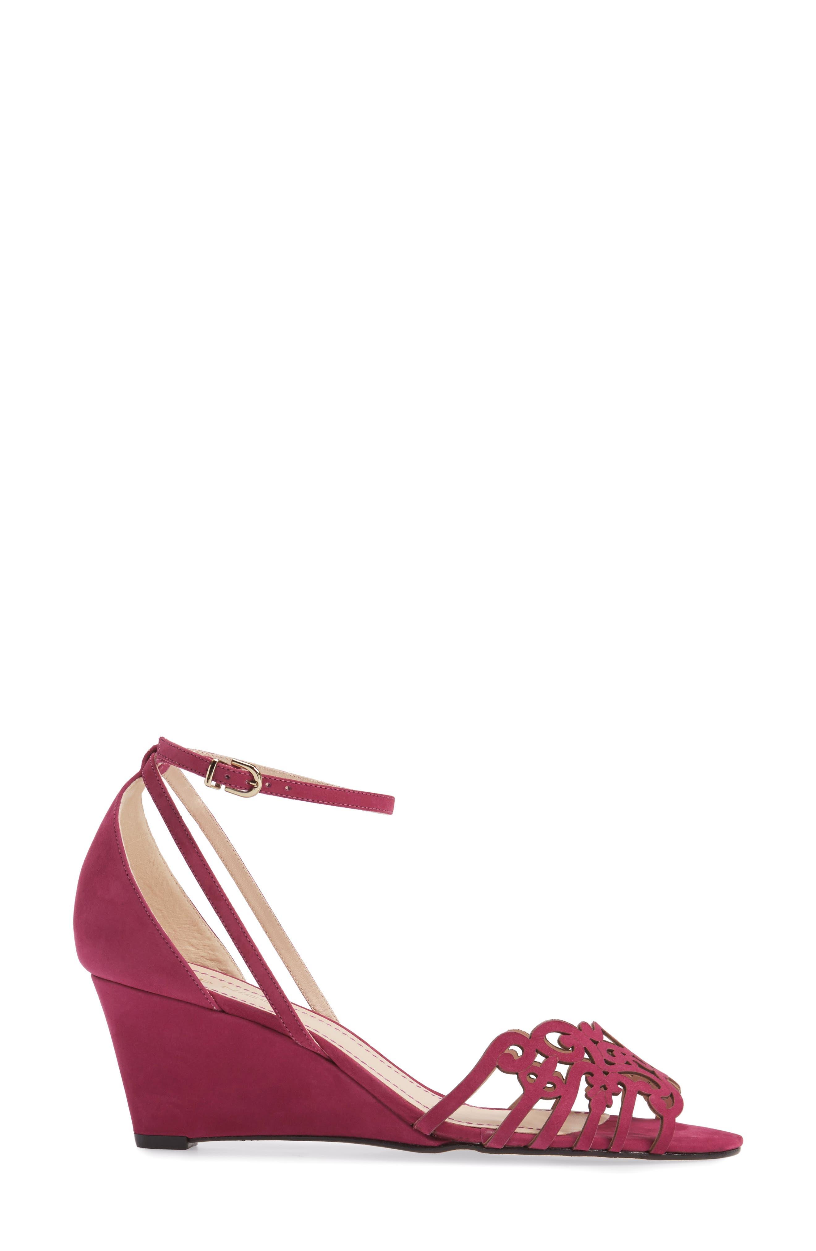 KLUB NICO, 'Kingston' Ankle Strap Wedge Sandal, Alternate thumbnail 3, color, MAGENTA LEATHER