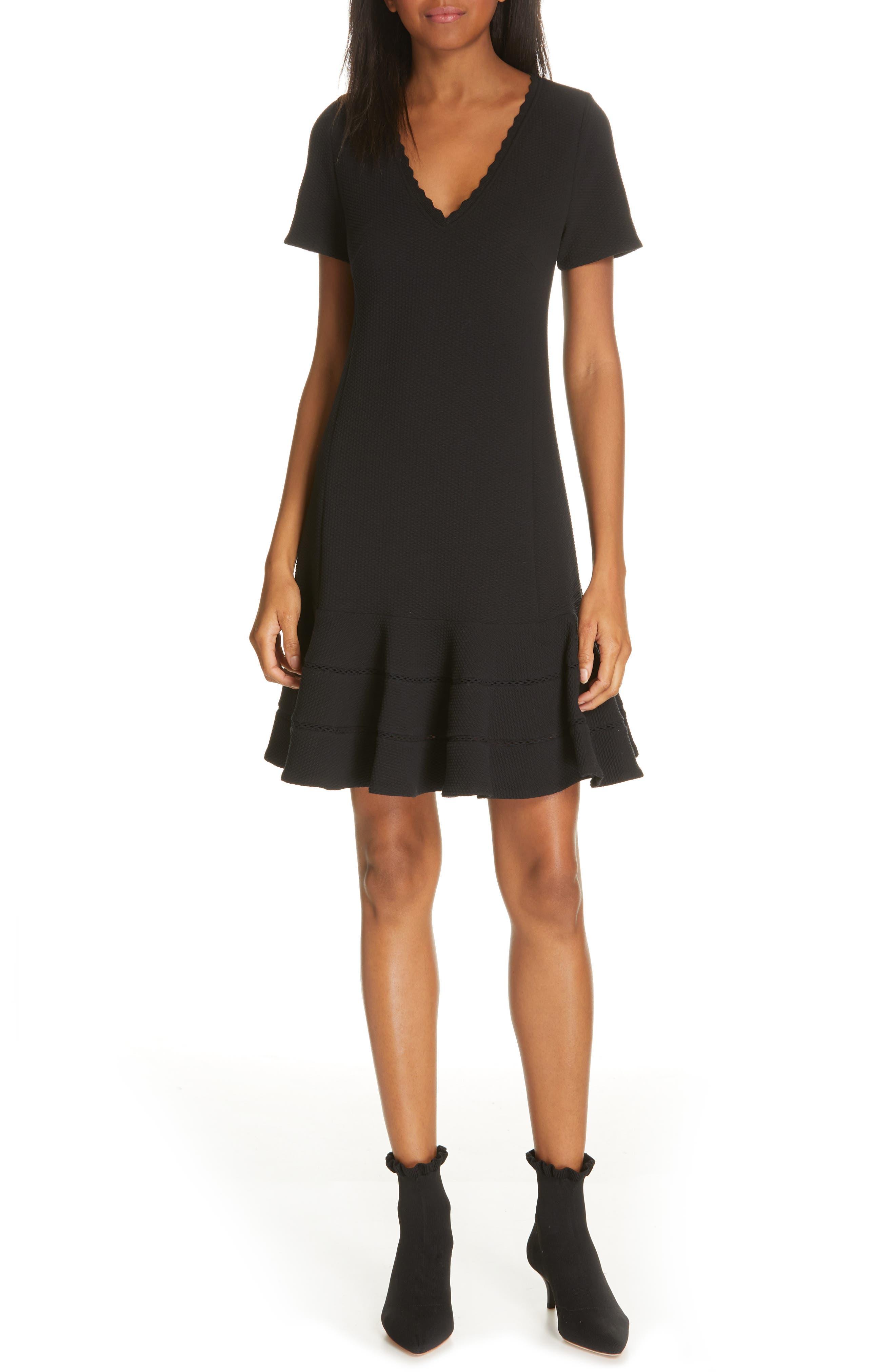 REBECCA TAYLOR Fit & Flare Dress, Main, color, BLACK