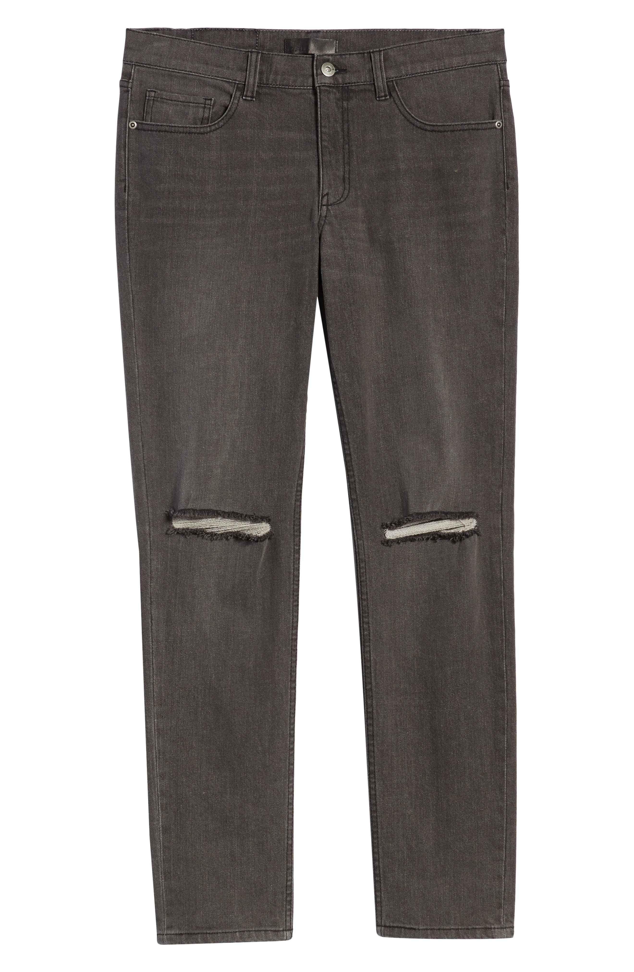 THE RAIL, Ripped Skinny Jeans, Alternate thumbnail 7, color, GREY CHRIS WASH