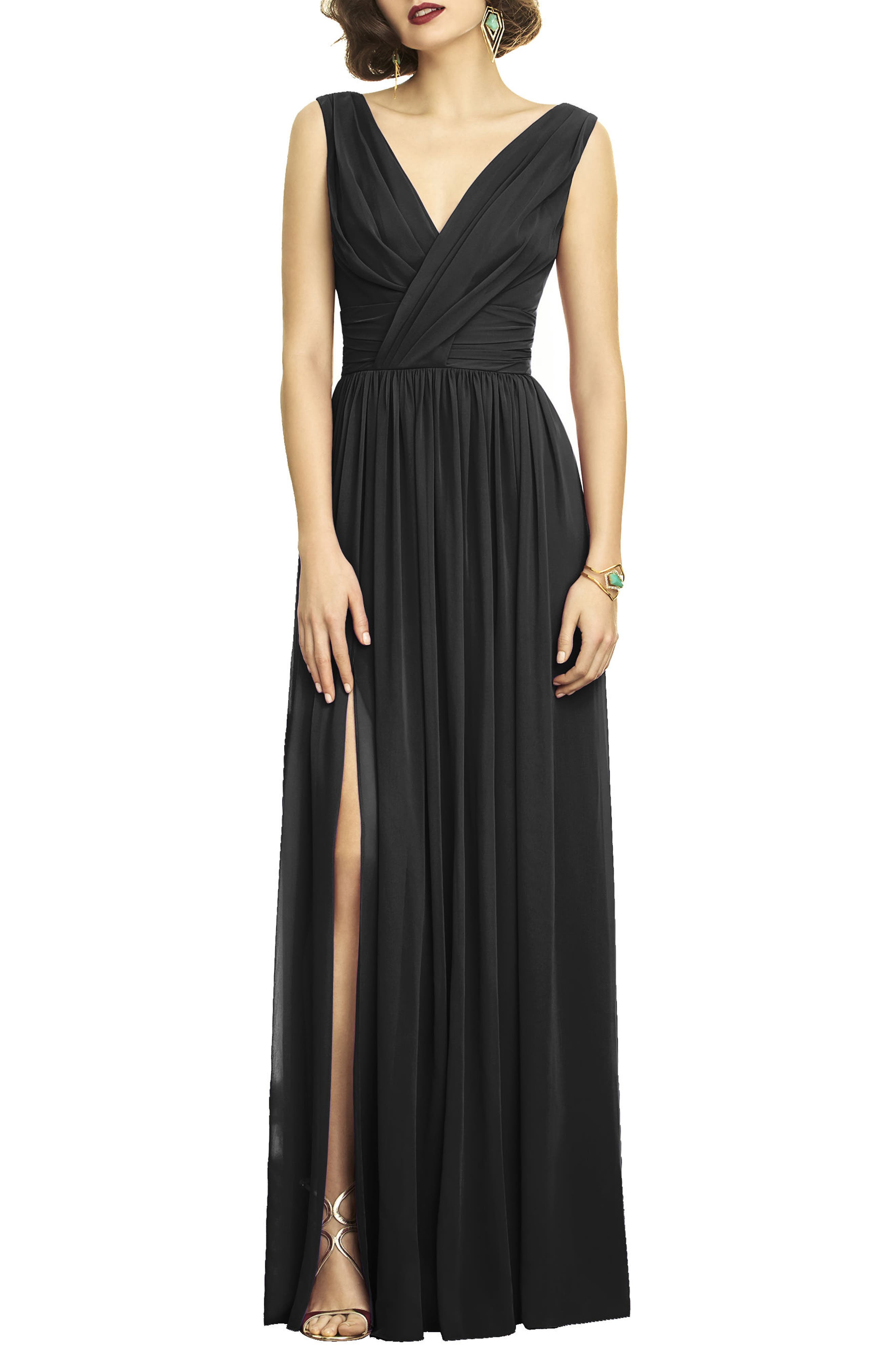 DESSY COLLECTION, Lux V-Neck Chiffon Gown, Main thumbnail 1, color, BLACK
