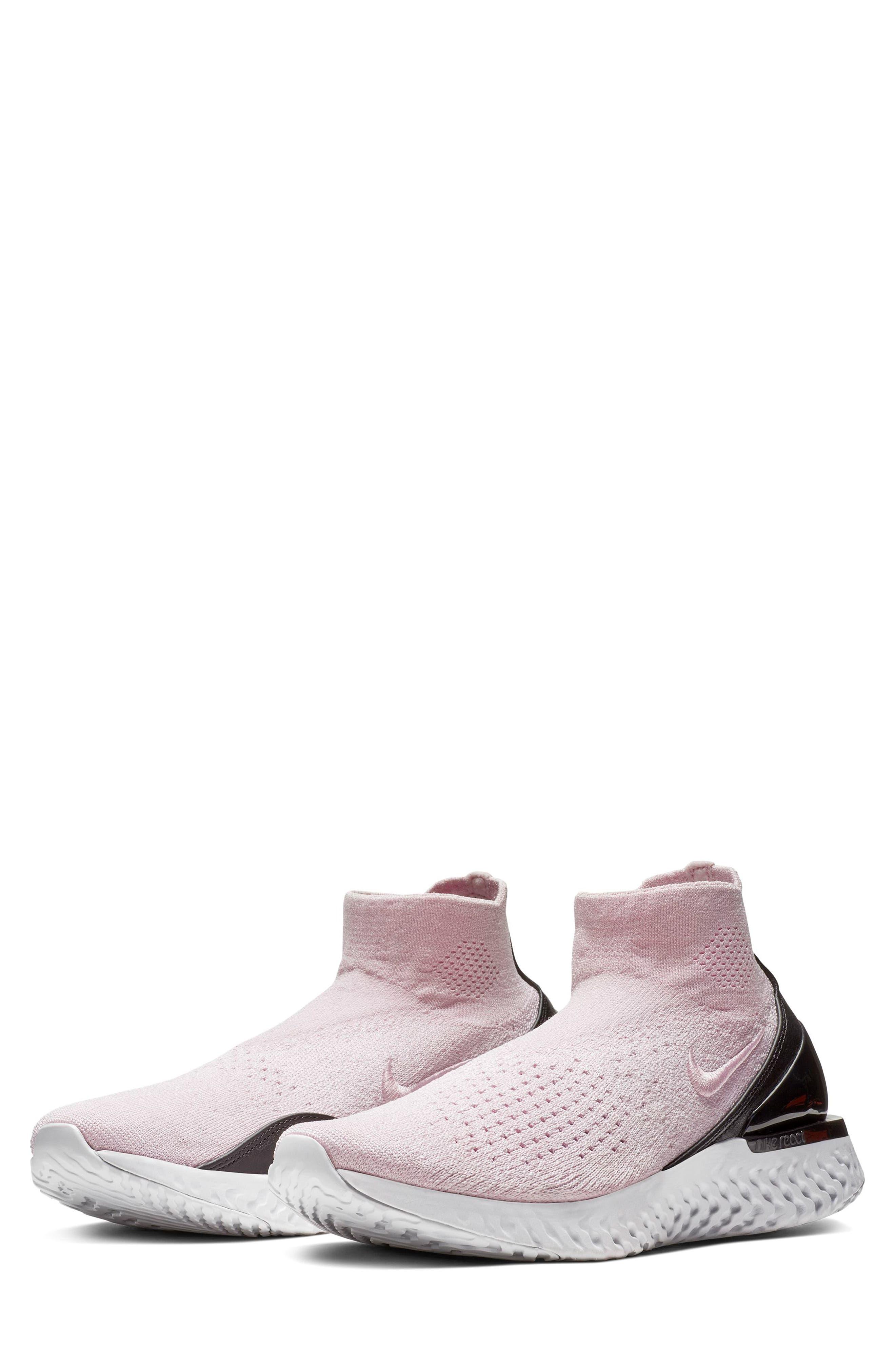 NIKE, Rise React FlyKnit Sneaker, Main thumbnail 1, color, PINK FOAM/ PINK FOAM/ BLACK
