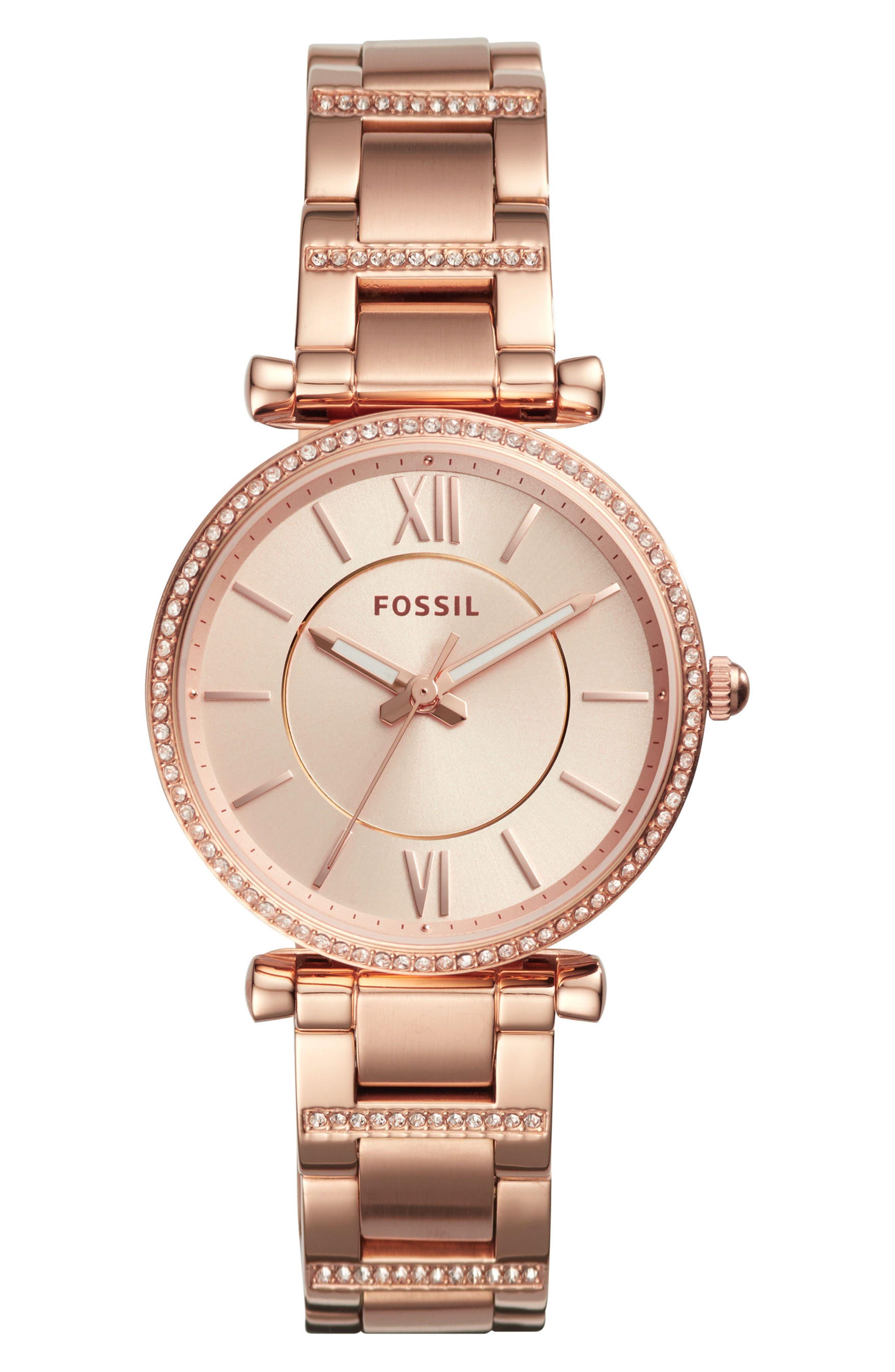 FOSSIL Carlie T-Bar Crystal Bracelet Watch, 35mm, Main, color, ROSE GOLD