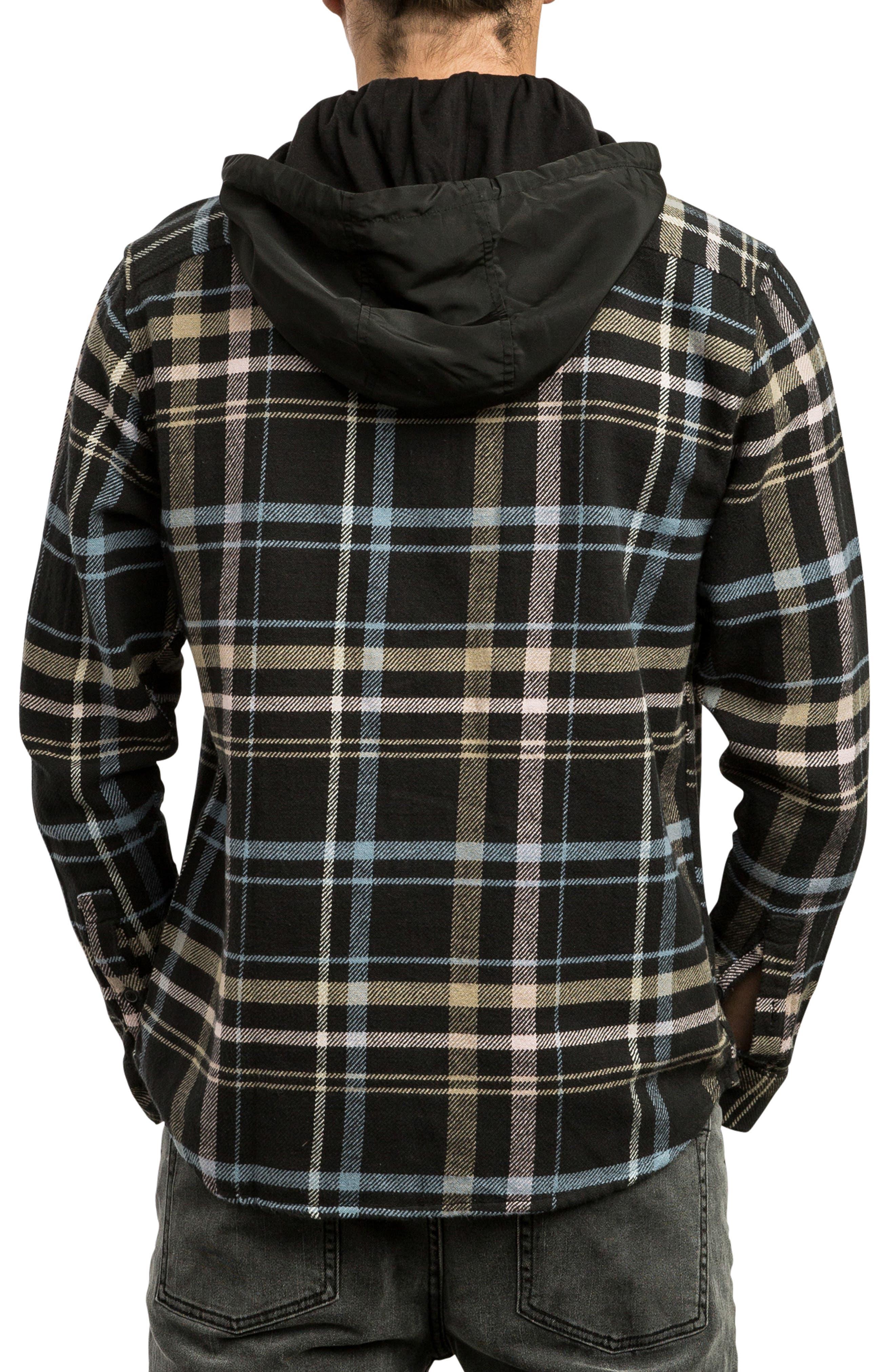 RVCA, Essex Hooded Flannel Shirt, Alternate thumbnail 2, color, RVCA BLACK