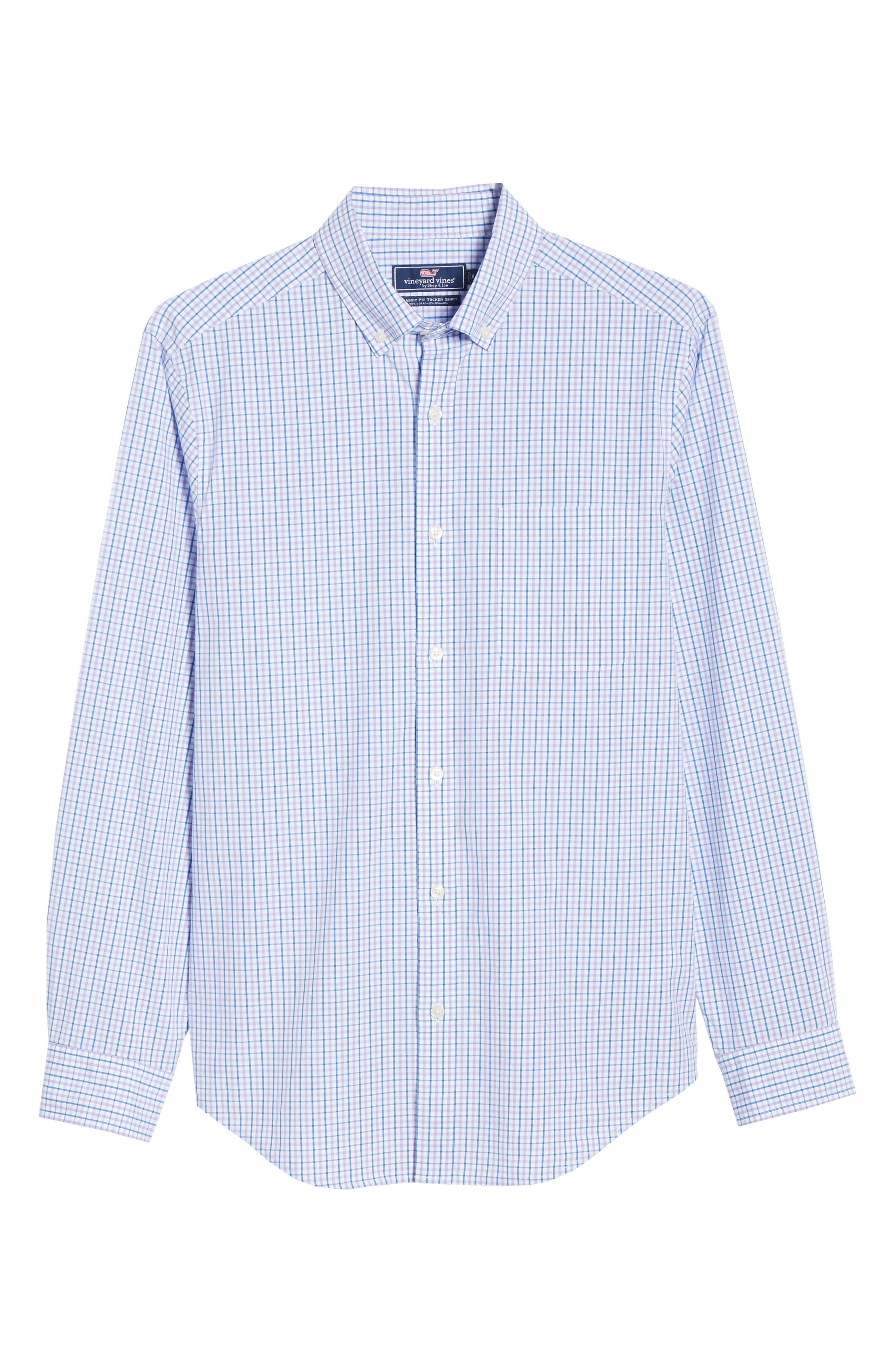 VINEYARD VINES, Tucker Regular Fit Balter Tattersall Sport Shirt, Alternate thumbnail 5, color, SEA URCHIN