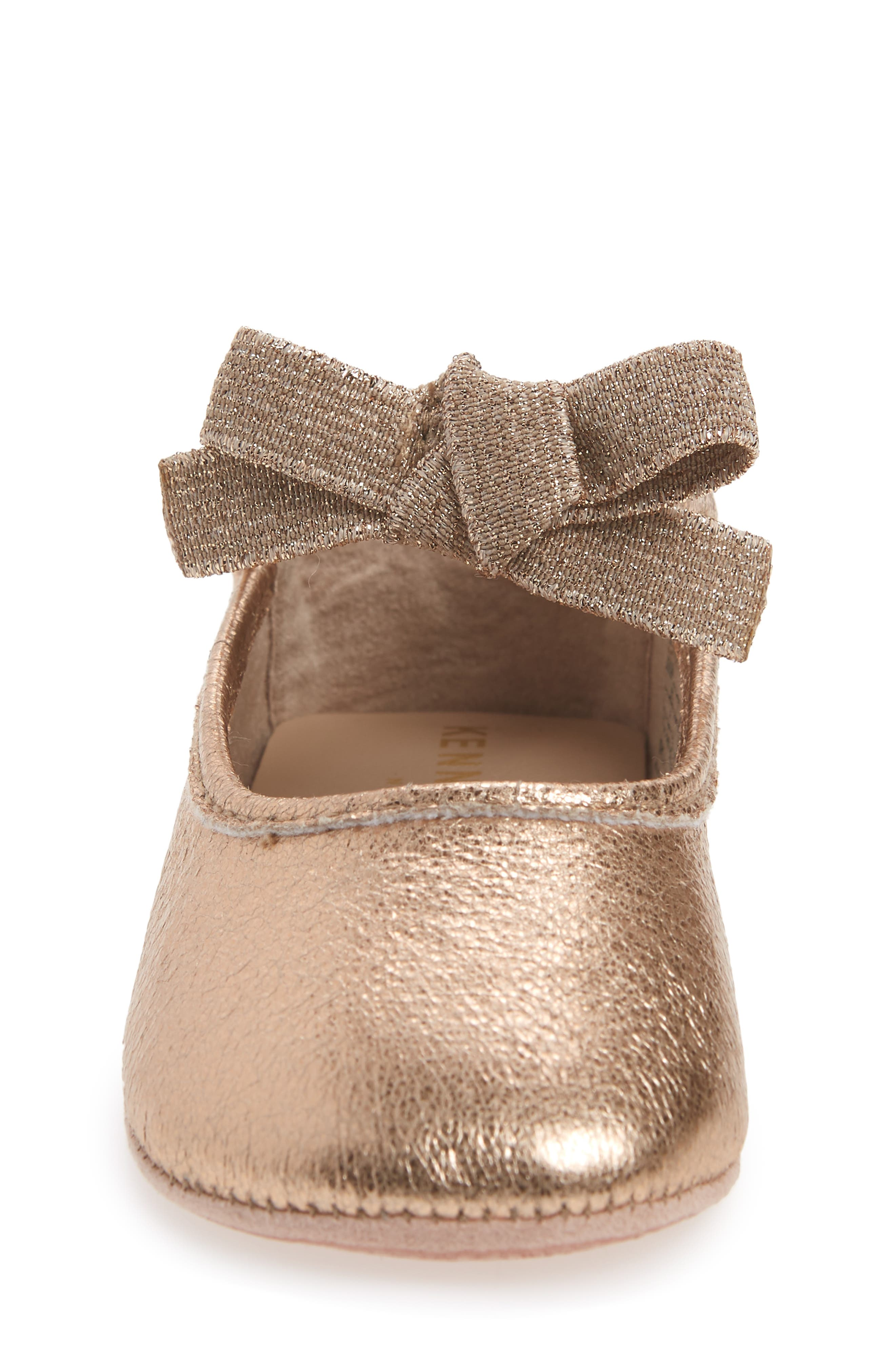 KENNETH COLE NEW YORK, Rose Bow Metallic Ballet Flat, Alternate thumbnail 4, color, ROSE