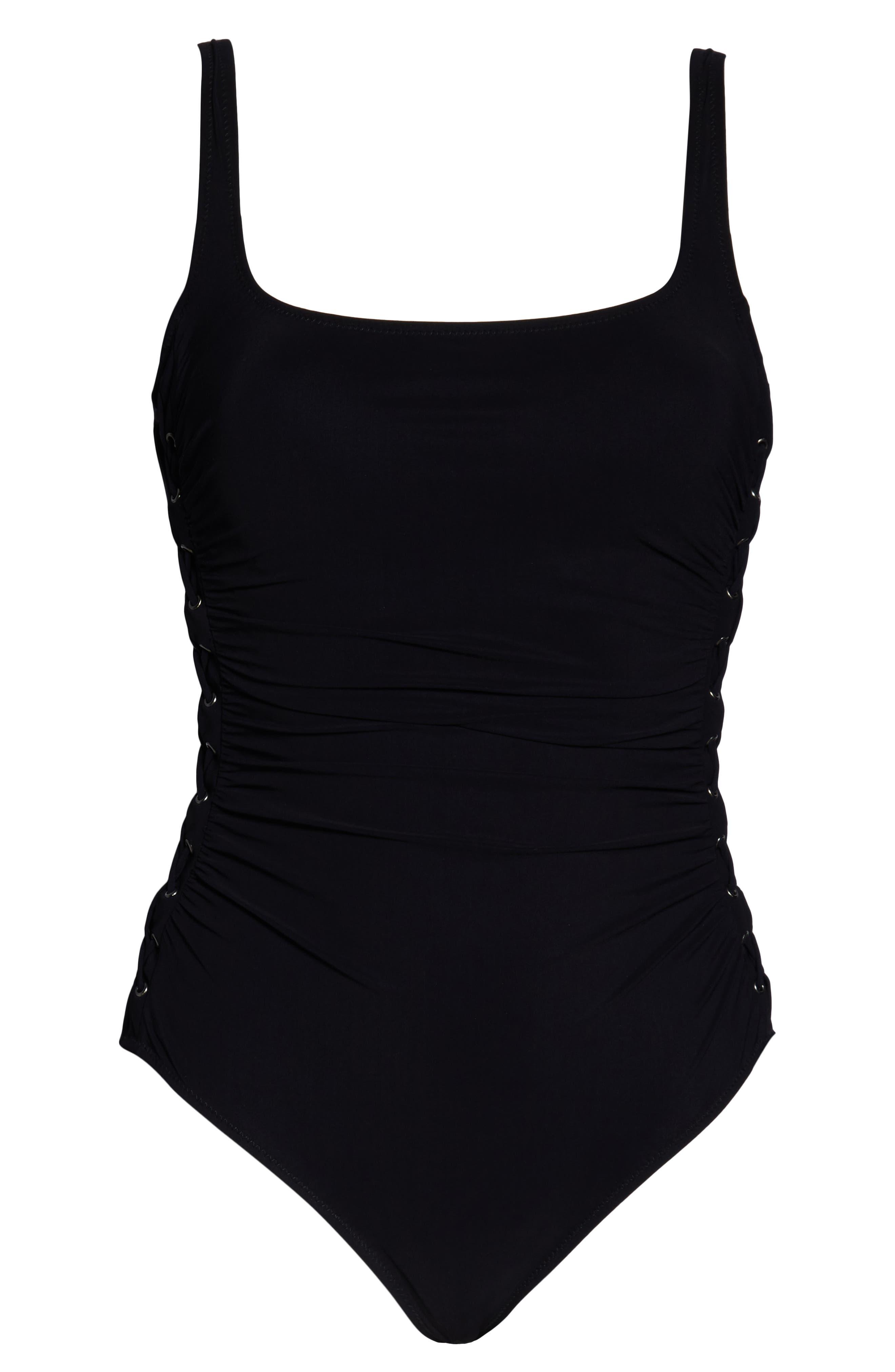 PROFILE BY GOTTEX, One-Piece Swimsuit, Alternate thumbnail 5, color, BLACK