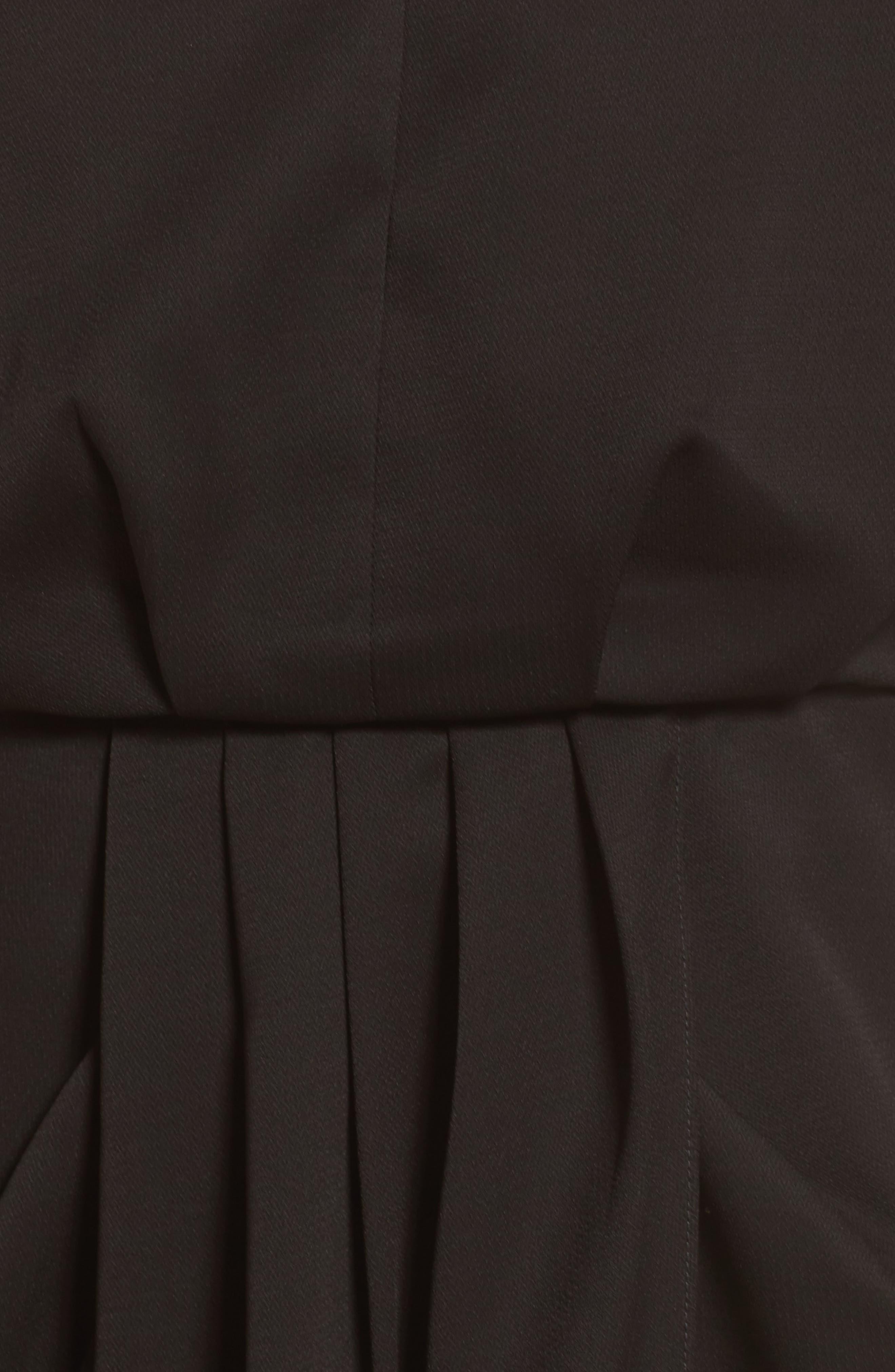 CHELSEA28, Print Faux Wrap Dress, Alternate thumbnail 6, color, BLACK