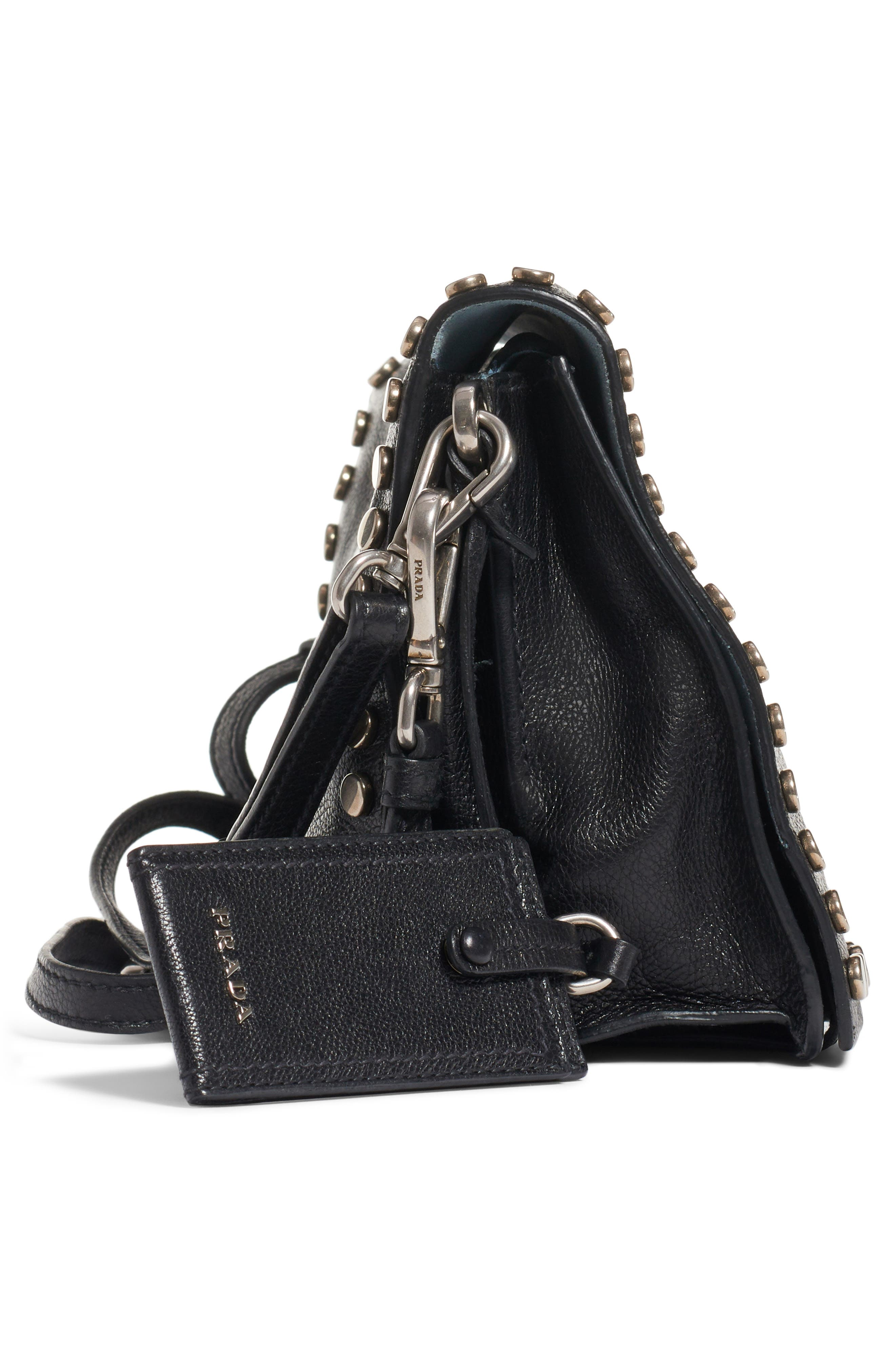 PRADA, Small Stud Etiquette Shoulder Bag, Alternate thumbnail 4, color, NERO/ ASTRALE