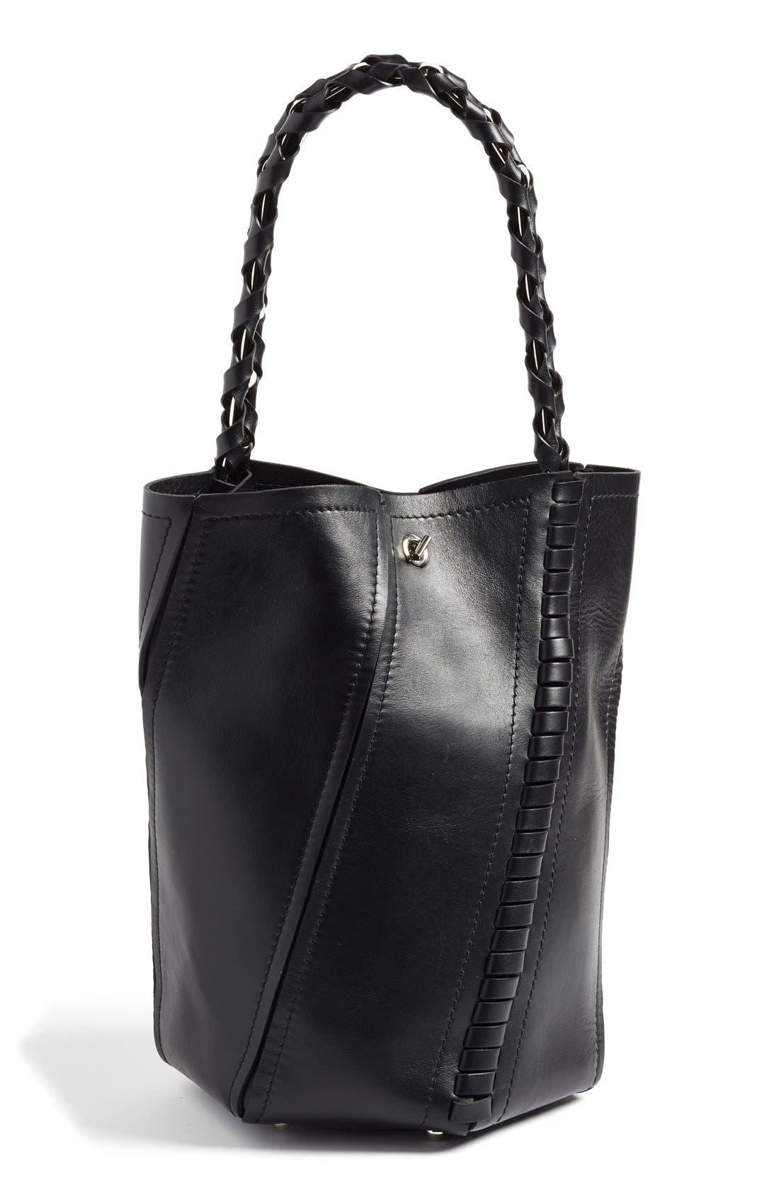 PROENZA SCHOULER, 'Medium Hex' Whipstitch Leather Bucket Bag, Main thumbnail 1, color, BLACK