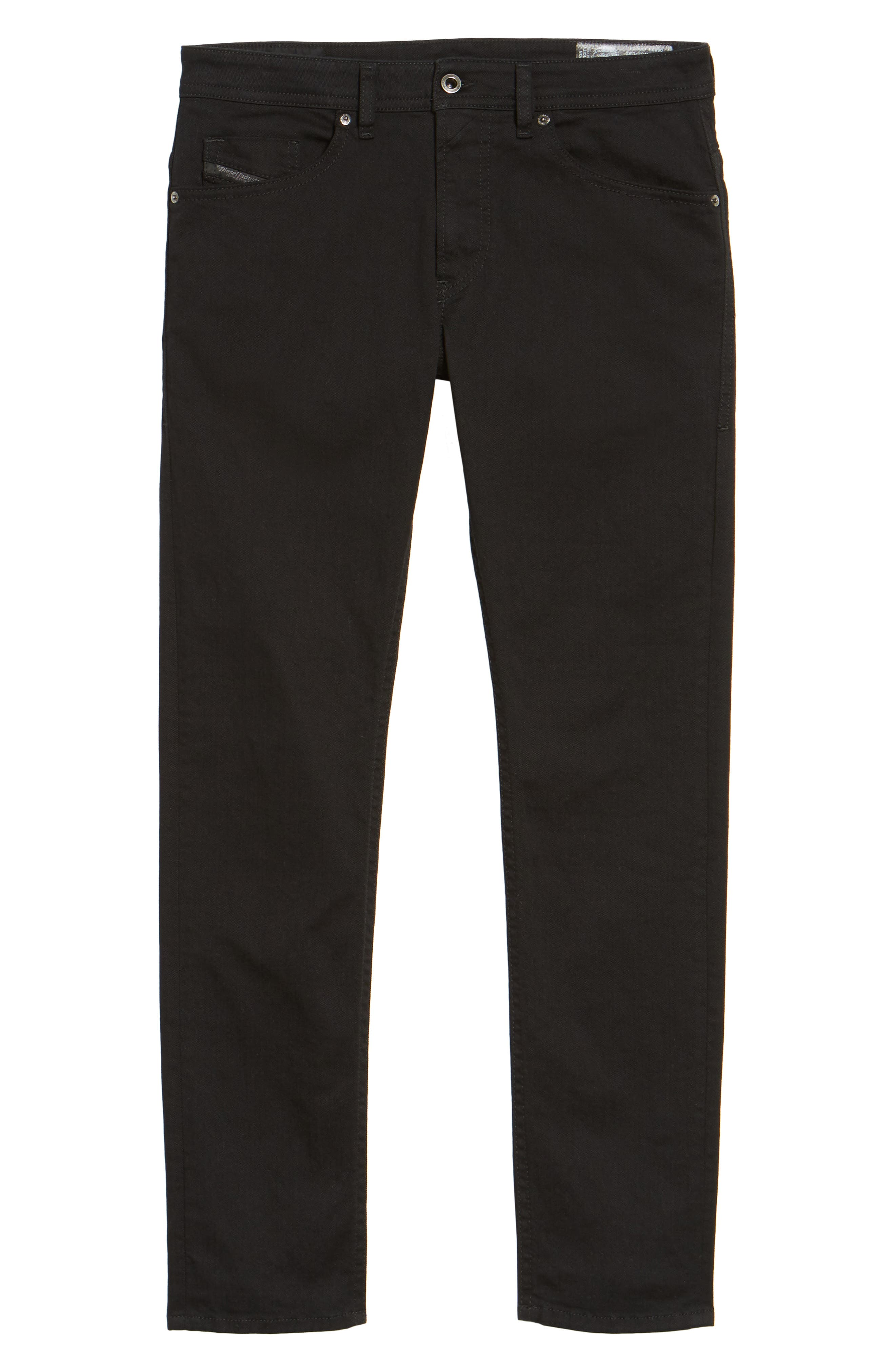 DIESEL<SUP>®</SUP>, Thommer Slim Fit Jeans, Alternate thumbnail 7, color, BLACK/ DENIM