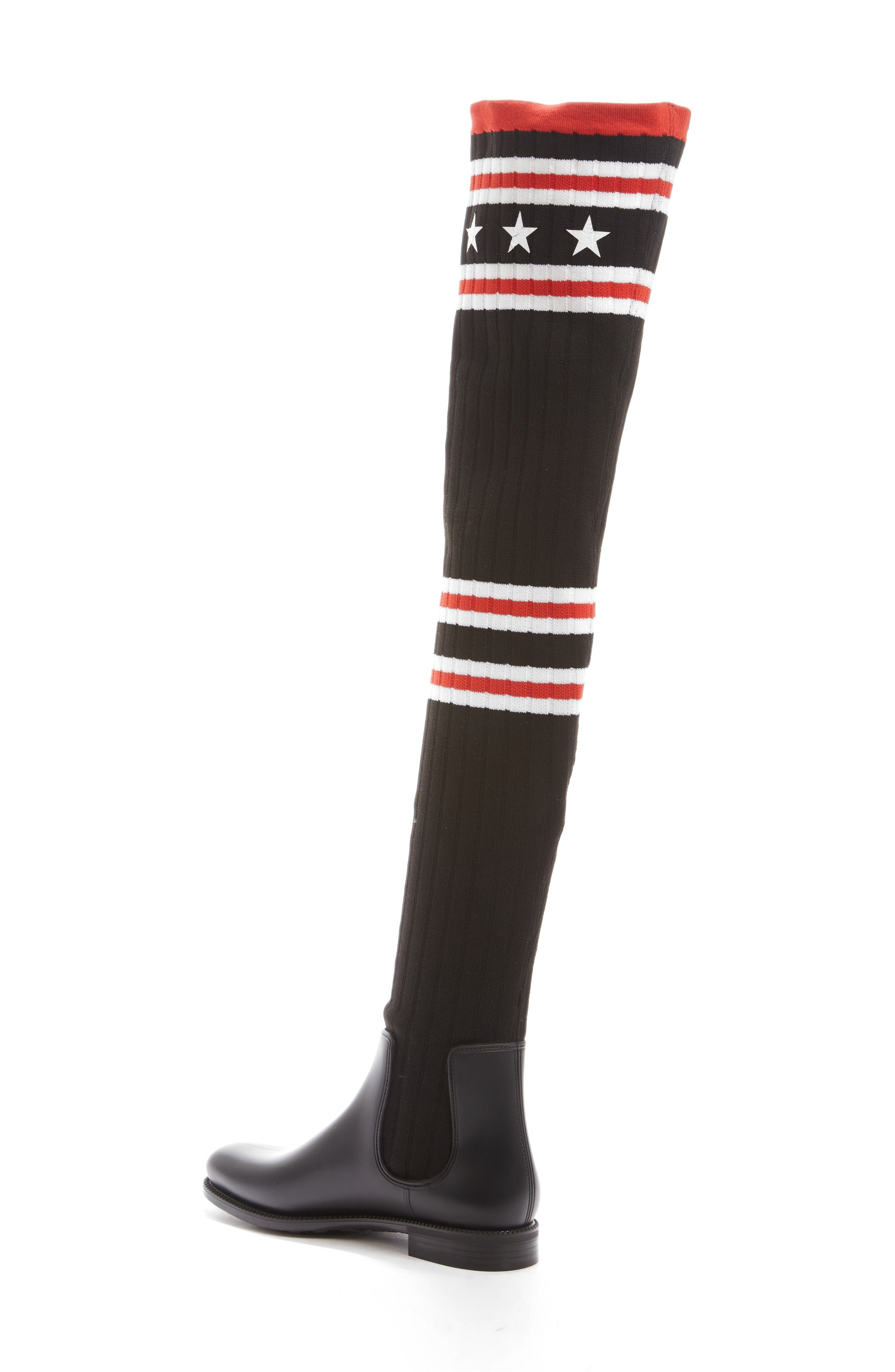 GIVENCHY, Storm Over the Knee Sock Boot, Alternate thumbnail 2, color, BLACK/ RED