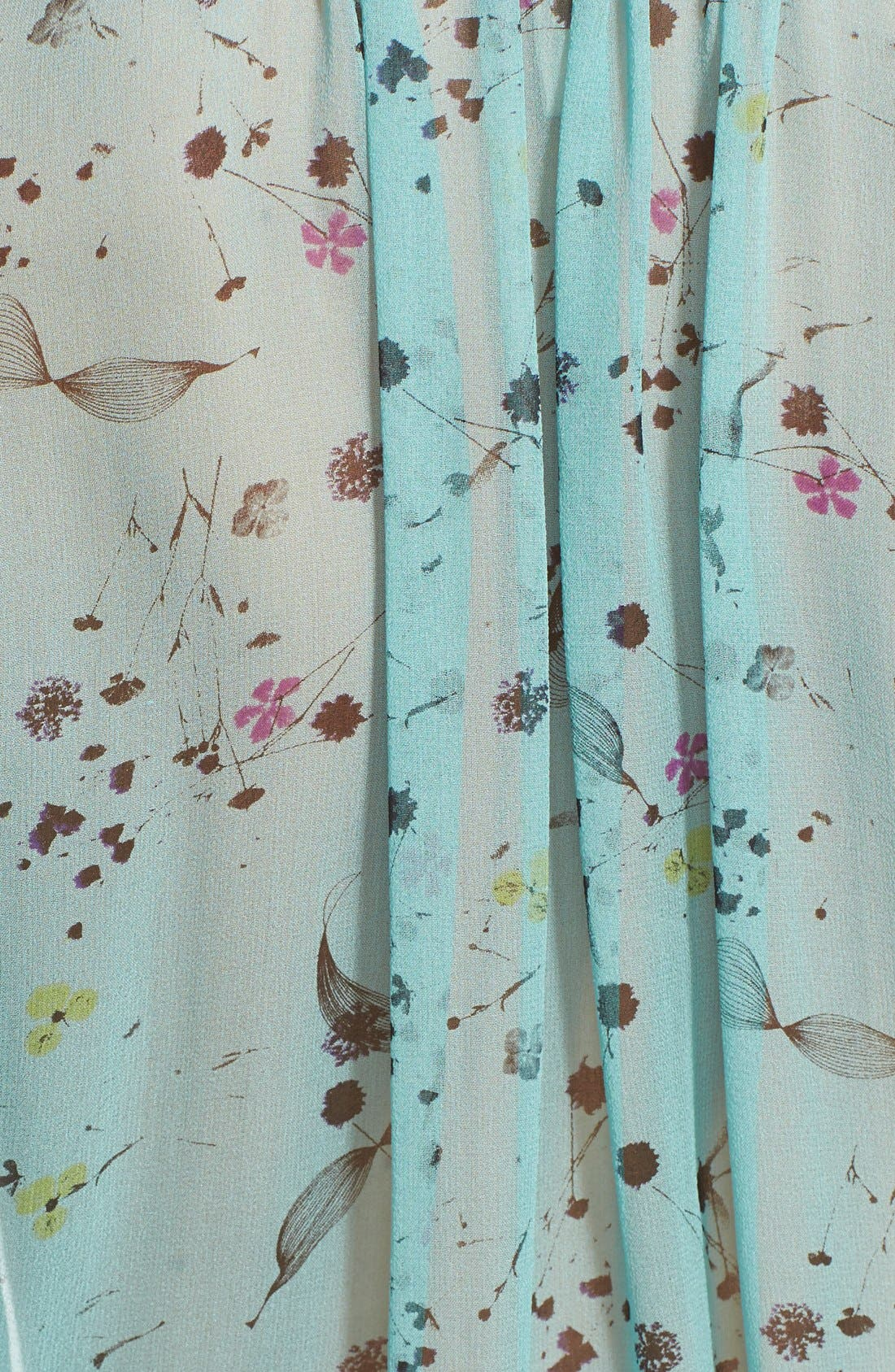REBECCA TAYLOR, Floral Print Tie Neck Top, Alternate thumbnail 3, color, 318