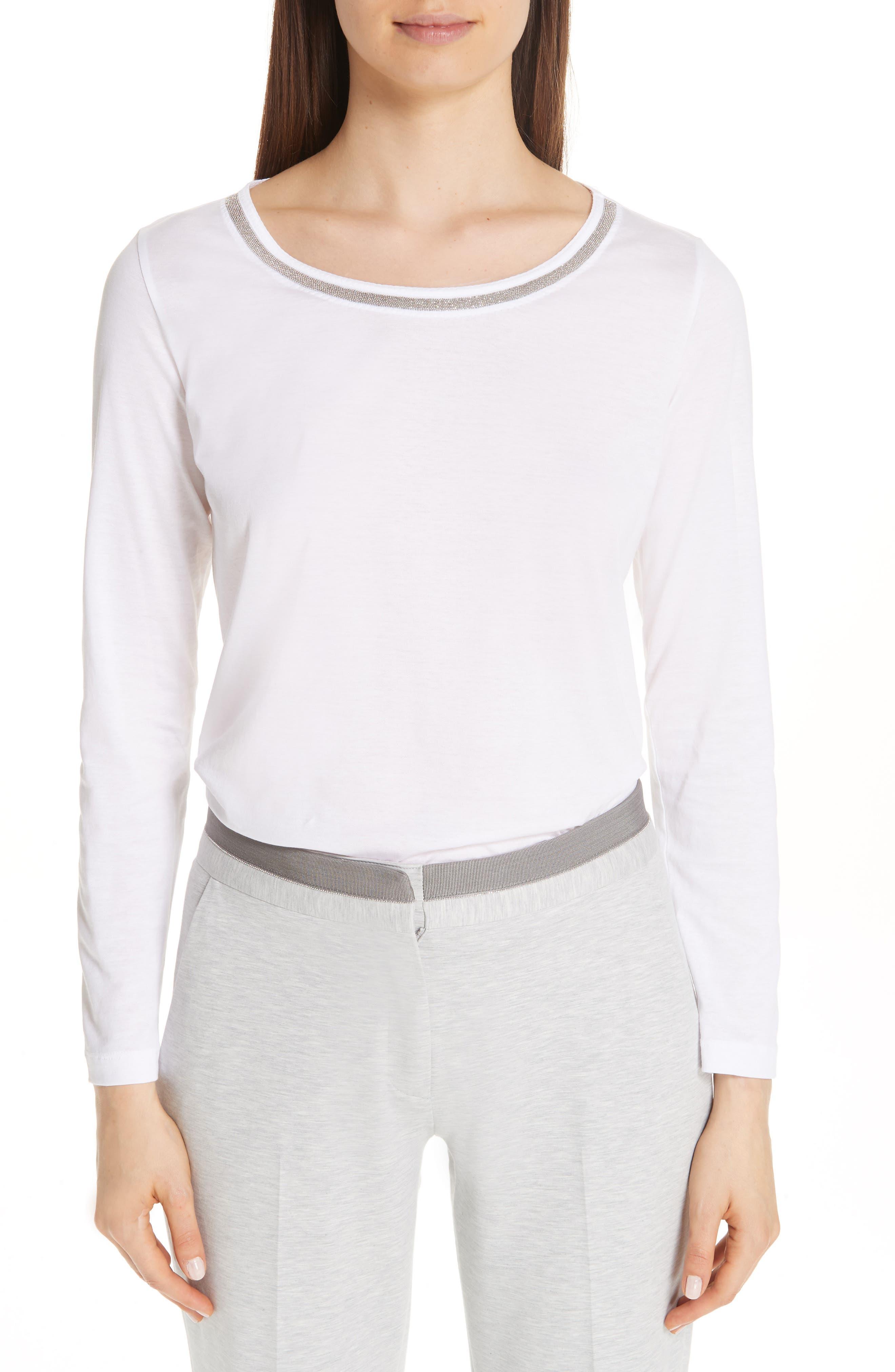FABIANA FILIPPI Chain Trim Jersey Top, Main, color, WHITE
